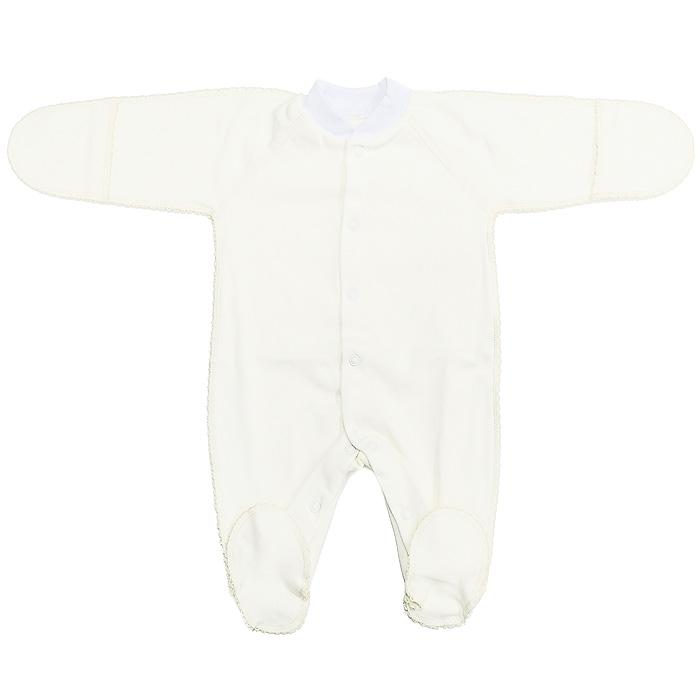 Комбинезон детский. 37-52337-523Детский комбинезон Фреш Стайл станет идеальным дополнением к гардеробу вашего ребенка. Выполненный из натурального хлопка, он необычайно мягкий и приятный на ощупь, не раздражают нежную кожу ребенка и хорошо вентилируется. Комбинезон с длинными рукавами-реглан, закрытыми ножками и небольшим воротником-стойкой застегиваются спереди на кнопки по всей длине и на ластовице, что облегчает переодевание ребенка и смену подгузника. Горловина дополнена трикотажной эластичной резинкой. Благодаря рукавичкам ребенок не поцарапает себя. Швы выполнены наружу и оформлены ажурными петельками. В таком комбинезоне ваш малыш будет чувствовать себя комфортно и уютно!