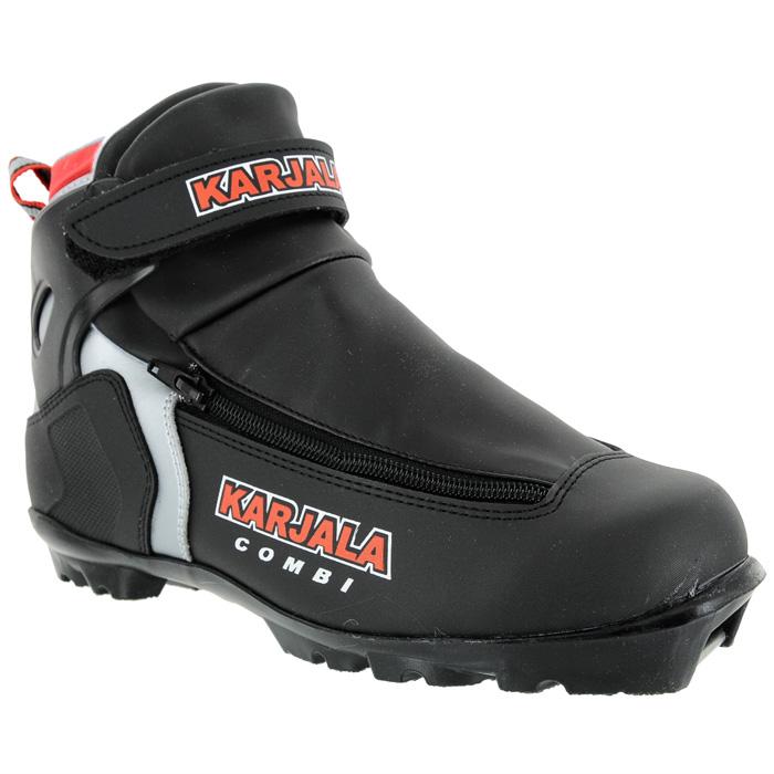 Ботинки для беговых лыж Combi NNNCombi NNNЛыжные ботинки Karjala Combi NNN отлично подходят для классического и конькового стиля. Верх выполнен из влагоустойчивого и морозостойкого материала с покрытием из полиуретана. Анатомический крой обеспечивает отличную посадку по ноге. Модель фиксируется на ноге при помощи плотной шнуровки с пластиковыми петлями. Язык-клапан сохраняет тепло и препятствует проникновению влаги внутрь ботинка. Поверх шнуровки имеется внешний защитный гидроизоляционный клапан на боковой застежке-молнии. Специальные вставки на мыске и в пяточной области увеличивают жесткость ботинка, предотвращают натирание и наминание стопы. Пластиковая манжета с липучкой надежно фиксирует голеностопный сустав. Пяточная петля позволит легко и быстро надеть ботинок. Подошва системы NNN выполнена из высокотехнологичного термопластика. Рекомендуемая температура эксплуатации до -20°С. Karjala (Карелия) - самая известная российская марка беговых лыж и аксессуаров, которая уже более полувека...