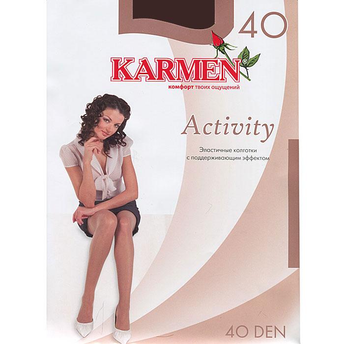 Колготки Activity 40K-Activity 40 CoffeeШелковистые колготки Karmen Activity идеально облегают и подчеркивают фигуру, дарят ощущение комфорта и женственности. Модель выполнена из полиамида с добавлением эластана. Колготки с поддерживающим эффектом дополнены мягкой резинкой на поясе, которая плотно облегает талию, обеспечивая комфорт и удобство. Плотность 40 den Уважаемые клиенты! Обращаем ваше внимание на тот факт, что для размера 5 (50) XL колготок предусмотрены двойные швы, усиленный мысок и ластовица.
