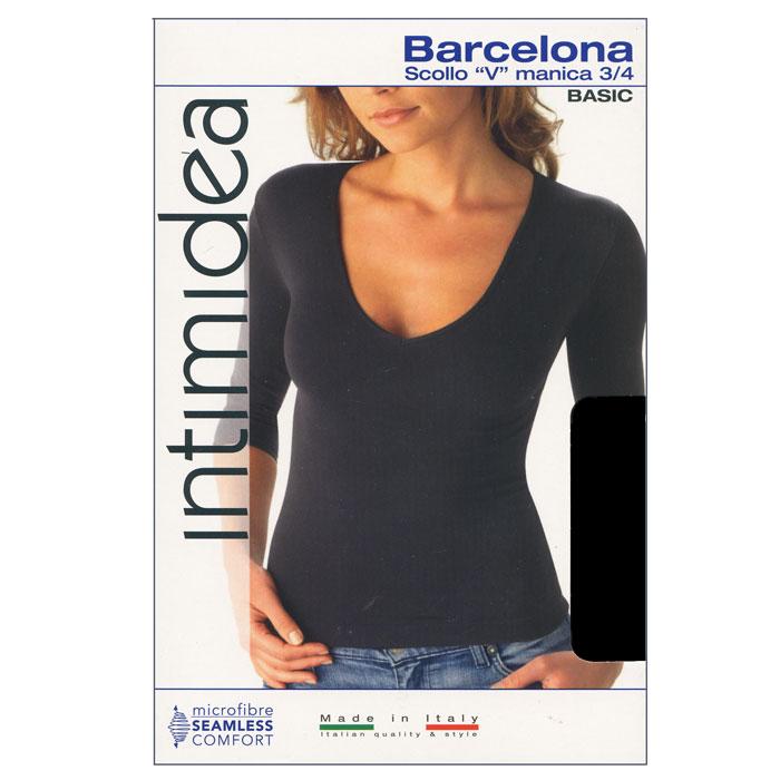 Футболка женская BarcellonaIN-T-Shirt Barcellona BiancoЖенская футболка Barcellona с рукавом 3/4 выполнена из микрофибры, она очень мягкая на ощупь, не раздражает даже самую нежную и чувствительную кожу. Вырез горловины оформлен бейкой в цвет изделия. Футболка с V-образным вырезом горловины и длинными рукавами удобна в использовании, ее можно носить как с брюками, так и с юбкой. Отличный вариант для повседневного использования!