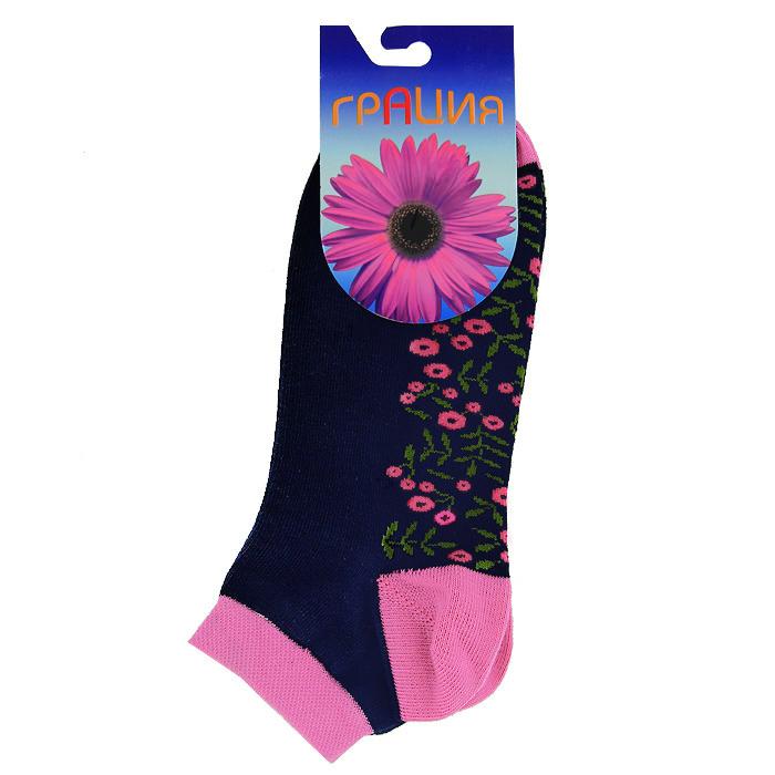 Носки женские. М1098М1098Женские носки Грация, изготовленные из высококачественного сырья, идеально подойдут для вас. Комфортная резинка не сдавливает ногу, а усиленная пятка и мысок обеспечивают надежность и долговечность. Женские всесезонные носочки с укороченным паголенком и ярким цветочным рисунком по всей стопе.