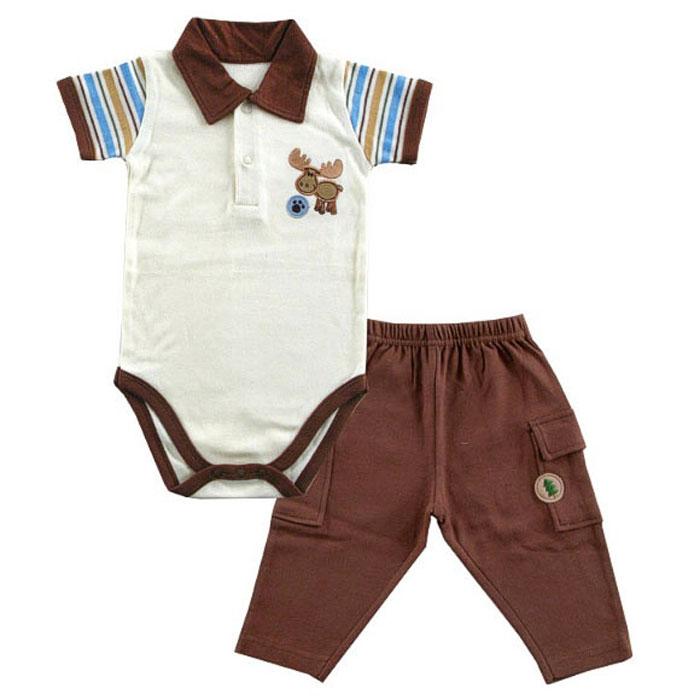 Комплект для новорожденного Лосенок: боди, штанишки. 5040050400Яркий комплект для новорожденного Hudson Baby Лосенок, состоящий из боди и штанишек, послужит идеальным дополнением к гардеробу вашего малыша, обеспечивая ему наибольший комфорт. Изготовленный из натурального хлопка, он необычайно мягкий и легкий, не раздражает нежную кожу ребенка и хорошо вентилируется, а эластичные швы приятны телу младенца и не препятствуют его движениям. Боди с короткими рукавами дополнено отложным воротничком поло, на груди застегивается на кнопки и имеет удобные застежки-кнопки на ластовице, которые помогают легко переодеть младенца и сменить подгузник. На груди оно оформлено забавной нашивкой. Штанишки благодаря мягкому эластичному поясу не сдавливают животик малыша и не сползают, обеспечивая ему наибольший комфорт. Штанины по бокам дополнены накладными кармашками с клапанами на кнопках. Комплект полностью соответствует особенностям жизни ребенка в ранний период, не стесняя и не ограничивая его в движениях. В нем ваш малыш всегда будет в...