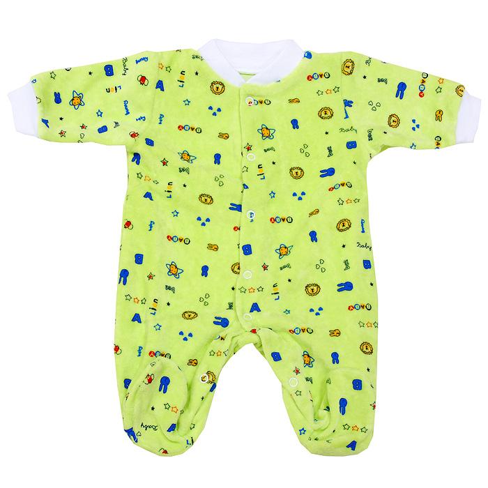 Комбинезон домашний55-526С комбинезоном Фреш Стайл спинка и ножки малыша всегда будут в тепле. Комбинезон с длинными рукавами и с закрытыми ножками, выполненный из мягкого и приятного на ощупь велюра, не сковывает движения младенца, идеален для использования днем и незаменим ночью, а удобные застежки-кнопки позволяют легко переодеть ребенка и не мешают ему во время сна. Комбинезон с забавным рисунком имеет воротничок и манжеты на рукавах, которые выполнены из трикотажного полотна. В таком комбинезоне ваш малыш будет чувствовать себя комфортно и уютно. Он согреет вашего ребенка в прохладную погоду и послужит замечательным дополнением к детскому гардеробу.