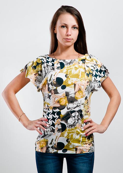 Футболка женская. LF-203_девушкиLF-203Очаровательная футболка Lowry приталенного кроя, изготовленная из высококачественного материала, приятная на ощупь, не сковывает движения, обеспечивая наибольший комфорт. Модель с вырезом горловины лодочка и короткими рукавами на плечах затягивается кулиской. Очень комфортная модель, которая отлично будет смотреться с различными предметами вашего гардероба.