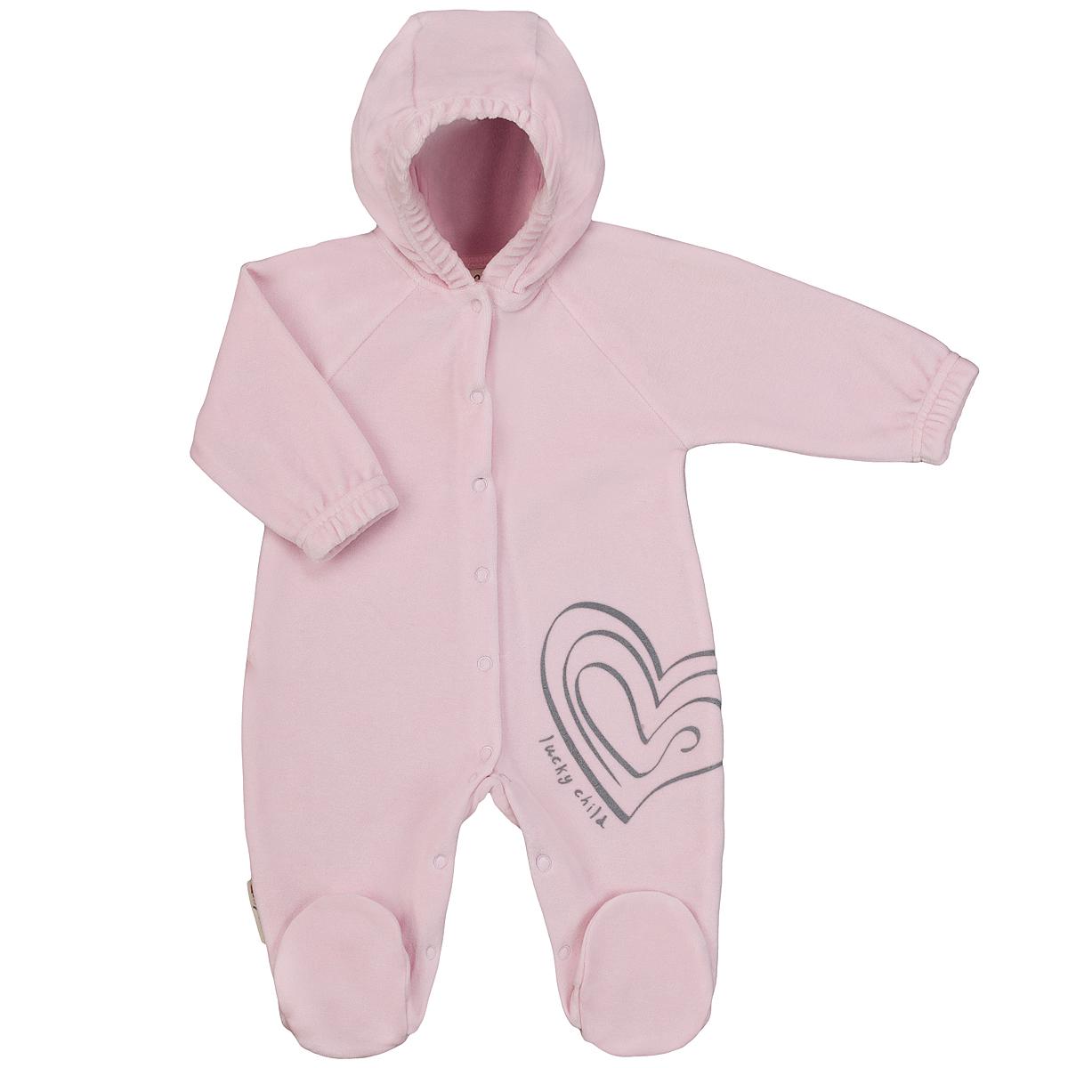 Комбинезон для девочки. 2-212-21Детский комбинезон с капюшоном для девочки Lucky Child - очень удобный и практичный вид одежды для малышей. Комбинезон выполнен из велюра, благодаря чему он необычайно мягкий и приятный на ощупь, не раздражают нежную кожу ребенка и хорошо вентилируются, а эластичные швы приятны телу малышки и не препятствуют ее движениям. Комбинезон с длинными рукавами-реглан и закрытыми ножками имеет застежки-кнопки по центру от горловины до щиколоток, которые помогают легко переодеть младенца или сменить подгузник. Спереди он оформлен оригинальным принтом в виде сердечка. Рукава понизу дополнены неширокими эластичными манжетами, не перетягивающими запястья. С детским комбинезоном Lucky Child спинка и ножки вашей малышки всегда будут в тепле. Комбинезон полностью соответствует особенностям жизни младенца в ранний период, не стесняя и не ограничивая его в движениях!
