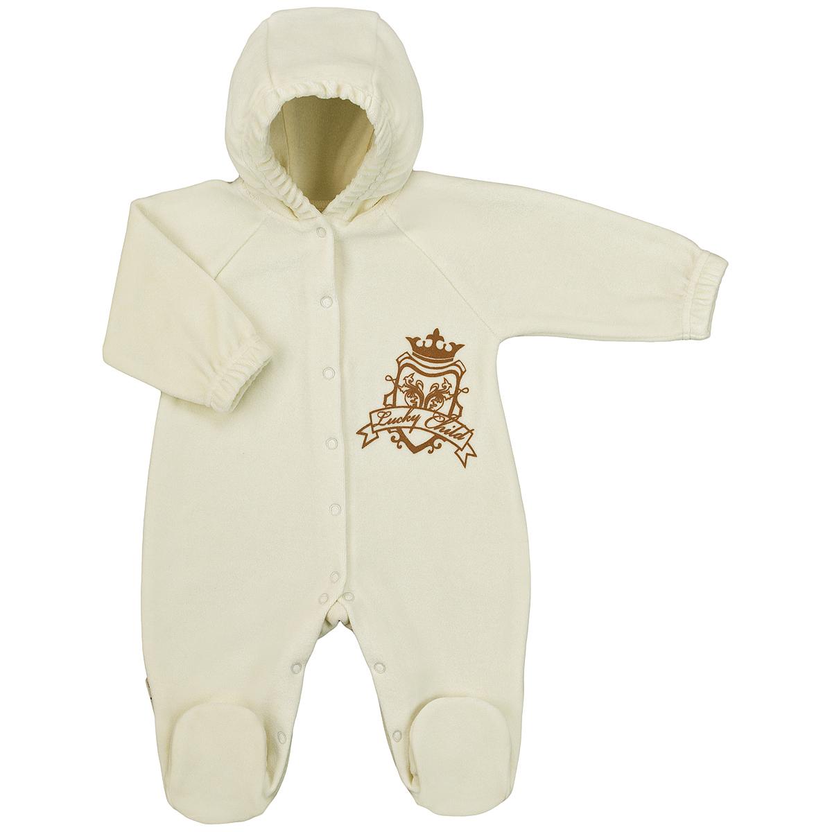 Комбинезон домашний2-21Детский комбинезон с капюшоном Lucky Child - очень удобный и практичный вид одежды для малышей. Комбинезон выполнен из велюра, благодаря чему он необычайно мягкий и приятный на ощупь, не раздражают нежную кожу ребенка и хорошо вентилируются, а эластичные швы приятны телу малыша и не препятствуют его движениям. Комбинезон с длинными рукавами-реглан и закрытыми ножками имеет застежки-кнопки по центру от горловины до щиколоток, которые помогают легко переодеть младенца или сменить подгузник. На груди он оформлен оригинальным принтом в виде логотипа бренда. Рукава понизу дополнены неширокими эластичными манжетами, не перетягивающими запястья. С детским комбинезоном Lucky Child спинка и ножки вашего малыша всегда будут в тепле. Комбинезон полностью соответствует особенностям жизни младенца в ранний период, не стесняя и не ограничивая его в движениях!