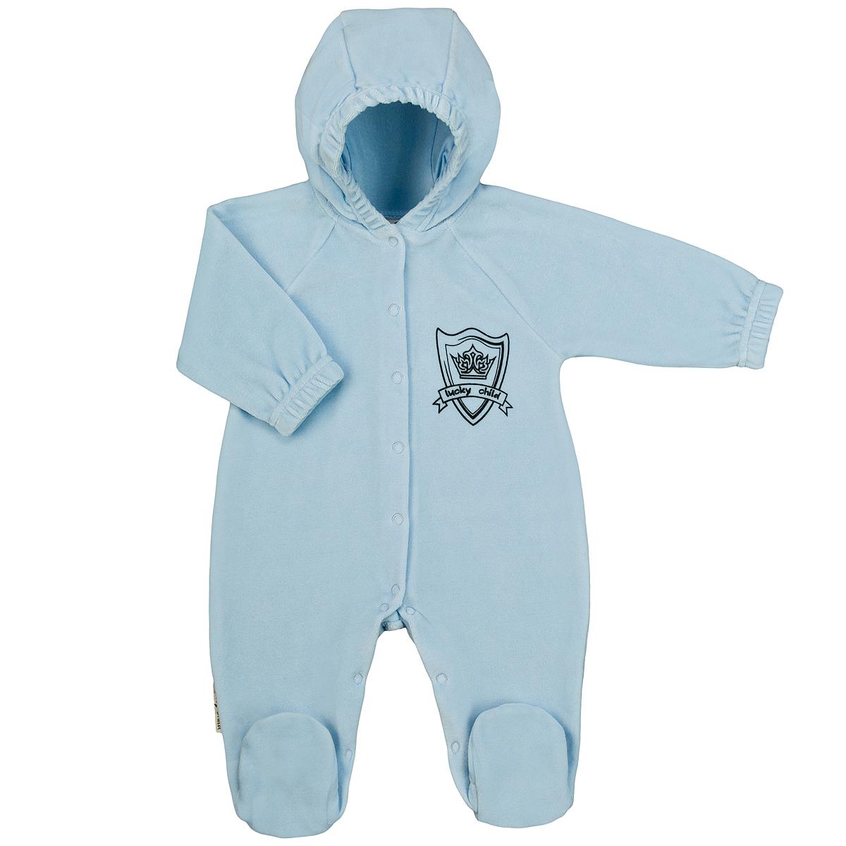 Комбинезон домашний3-21Детский комбинезон с капюшоном для мальчика Lucky Child - очень удобный и практичный вид одежды для малышей. Комбинезон выполнен из велюра, благодаря чему он необычайно мягкий и приятный на ощупь, не раздражают нежную кожу ребенка и хорошо вентилируются, а эластичные швы приятны телу малыша и не препятствуют его движениям. Комбинезон с длинными рукавами-реглан и закрытыми ножками имеет застежки-кнопки по центру от горловины до щиколоток, которые помогают легко переодеть младенца или сменить подгузник. На груди он оформлен оригинальным принтом в виде логотипа бренда. Рукава понизу дополнены неширокими эластичными манжетами, не перетягивающими запястья. С детским комбинезоном Lucky Child спинка и ножки вашего малыша всегда будут в тепле. Комбинезон полностью соответствует особенностям жизни младенца в ранний период, не стесняя и не ограничивая его в движениях!