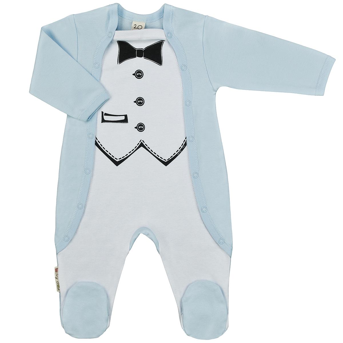 Комбинезон для мальчика. 3-223-22Детский комбинезон для мальчика Lucky Child - очень удобный и практичный вид одежды для малышей. Комбинезон выполнен из интерлока - натурального хлопка, благодаря чему он необычайно мягкий и приятный на ощупь, не раздражают нежную кожу ребенка и хорошо вентилируются, а эластичные швы приятны телу малыша и не препятствуют его движениям. Комбинезон с длинными рукавами и закрытыми ножками имеет застежки-кнопки по бокам от горловины до щиколоток, которые помогают легко переодеть младенца или сменить подгузник. Спереди он оформлен оригинальным принтом, имитирующим фрак с бабочкой. С детским комбинезоном Lucky Child спинка и ножки вашего малыша всегда будут в тепле, он идеален для использования днем и незаменим ночью. Комбинезон полностью соответствует особенностям жизни младенца в ранний период, не стесняя и не ограничивая его в движениях!