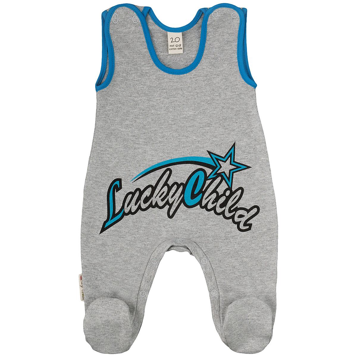 1-2Ползунки с грудкой Lucky Child - очень удобный и практичный вид одежды для малышей. Они отлично сочетаются с футболками и кофточками. Ползунки выполнены из интерлока - натурального хлопка, благодаря чему они необычайно мягкие и приятные на ощупь, не раздражают нежную кожу ребенка и хорошо вентилируются, а эластичные швы приятны телу малыша и не препятствуют его движениям. Ползунки с закрытыми ножками, застегивающиеся сверху на кнопки, идеально подойдут вашему малышу, обеспечивая ему наибольший комфорт, подходят для ношения с подгузником и без него. Кнопки на ластовице помогают легко и без труда поменять подгузник в течение дня. Спереди ползунки оформлены надписью Lucky Child. Ползунки с грудкой полностью соответствуют особенностям жизни малыша в ранний период, не стесняя и не ограничивая его в движениях!