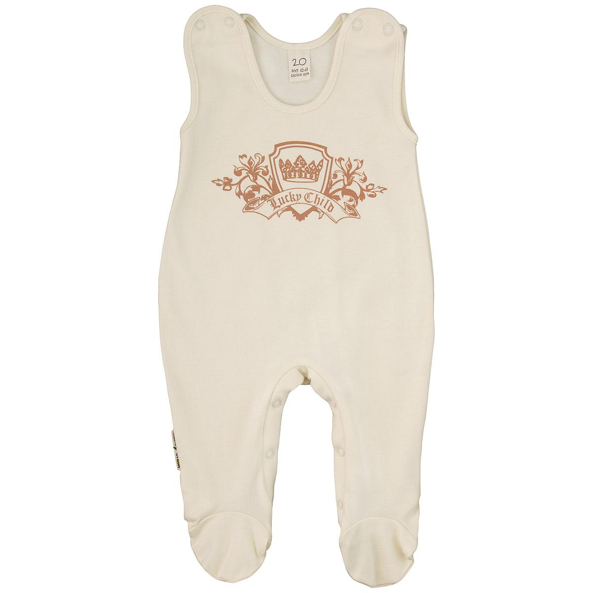 Ползунки с грудкой. 6-26-2Ползунки с грудкой Lucky Child - очень удобный и практичный вид одежды для малышей. Они отлично сочетаются с футболками и кофточками. Ползунки выполнены из интерлока - натурального хлопка, благодаря чему они необычайно мягкие и приятные на ощупь, не раздражают нежную кожу ребенка и хорошо вентилируются, а эластичные швы приятны телу малыша и не препятствуют его движениям. Ползунки с закрытыми ножками, застегивающиеся сверху на кнопки, идеально подойдут вашему малышу, обеспечивая ему наибольший комфорт, подходят для ношения с подгузником и без него. Кнопки на ластовице помогают легко и без труда поменять подгузник в течение дня. На груди они оформлены оригинальным принтом в виде логотипа бренда. Ползунки с грудкой полностью соответствуют особенностям жизни малыша в ранний период, не стесняя и не ограничивая его в движениях!