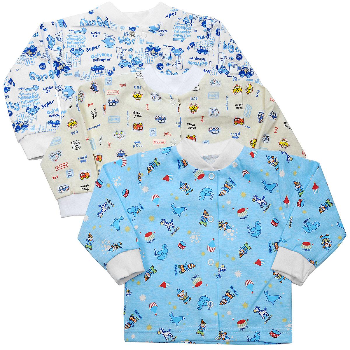 Кофточка для мальчика, 3 шт. 10-201м10-201мКомплект Фреш Стайл состоит из трех кофточек для мальчика. Кофточки с длинными рукавами послужат идеальным дополнением к гардеробу малыша, обеспечивая ему наибольший комфорт. Изготовленные из натурального хлопка, они необычайно мягкие и легкие, не раздражают нежную кожу ребенка и хорошо вентилируются, а эластичные швы приятны телу малыша и не препятствуют его движениям. Удобные застежки-кнопки по всей длине помогают легко переодеть малыша. Застежки-кнопки располагаются по центру модели. Воротник-стойка дополнен эластичной резинкой. Украшены кофточки яркими рисунками. Оригинальный дизайн и яркая расцветка делают эти кофточки модным и стильным предметом детского гардероба. В них вашему малышу всегда будет комфортно и уютно. УВАЖАЕМЫЕ КЛИЕНТЫ! Обращаем ваше внимание на тот факт, что товар поставляется в цветовом ассортименте. Поставка осуществляется в зависимости от наличия на складе.