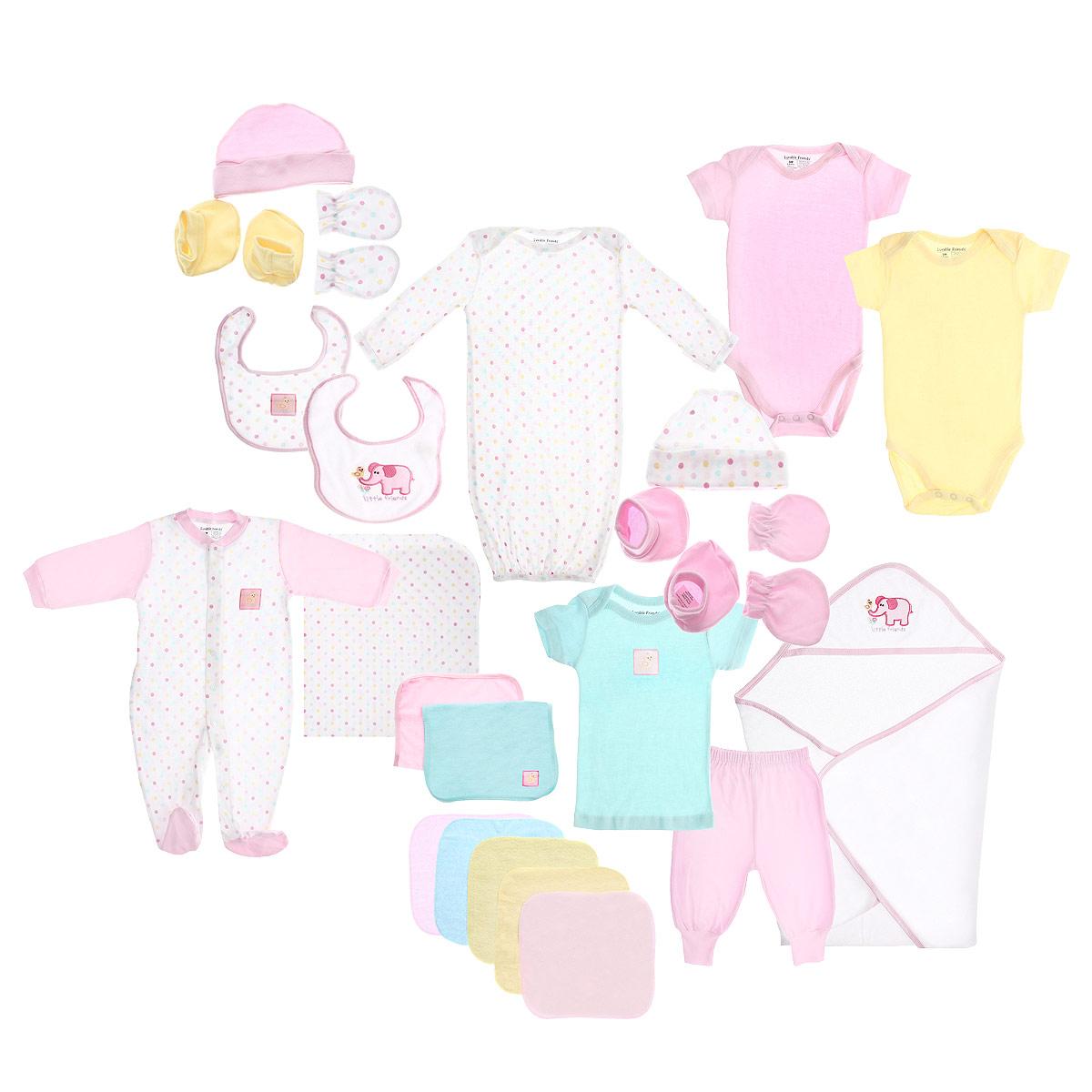 7087Комплект для новорожденного Luvable Friends Делюкс - это замечательный подарок, который прекрасно подойдет для первых дней жизни малыша. Комплект состоит из двух боди, футболки, штанишек, комбинезона, сорочки, двух пар пинеток, двух пар рукавичек, двух шапочек, двух слюнявчиков, пеленки, полотенца с уголком, двух средних полотенец и пяти маленьких полотенчиков. Изготовленный из натурального хлопка, он необычайно мягкий и приятный на ощупь, не сковывает движения малыша и позволяет коже дышать, не раздражает даже самую нежную и чувствительную кожу ребенка, обеспечивая ему наибольший комфорт. Удобные боди с круглым вырезом горловины и короткими рукавами имеют специальные запахи на плечах и кнопки на ластовице, что значительно облегчает процесс переодевания ребенка и смену подгузника. Футболка с короткими рукавами также имеет запахи на плечах, а на груди оформлена оригинальной нашивкой с изображением обезьянки. Детские штанишки очень удобные, с мягкой резинкой на...