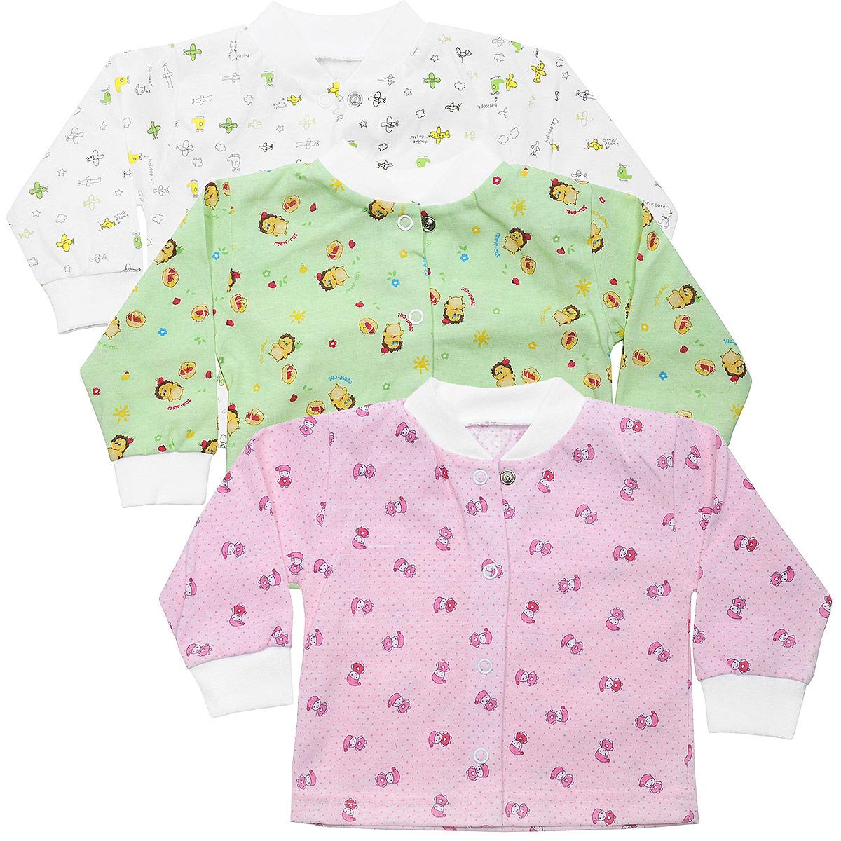 Комплект кофточек для девочки, 3 шт. 10-201д10-201дКомплект Фреш Стайл состоит из трех кофточек для девочки разных цветов с забавными рисунками. Выполненные из натурального хлопка, они необычайно мягкие и приятные на ощупь, не раздражают нежную кожу ребенка и хорошо вентилируются. Кофточки с длинными рукавами и воротником-стойкой застегиваются спереди на кнопки по всей длине, что помогает без проблем переодеть малышку. Оригинальное сочетание тканей и забавный рисунок делают этот предмет детской одежды оригинальным и стильным. УВАЖАЕМЫЕ КЛИЕНТЫ! Обращаем ваше внимание на возможные изменения в дизайне, связанные с ассортиментом продукции: рисунок и цветовая гамма могут отличаться от представленного на изображении. Возможные варианты рисунков и цветов представлены на отдельном изображении фрагментом ткани.