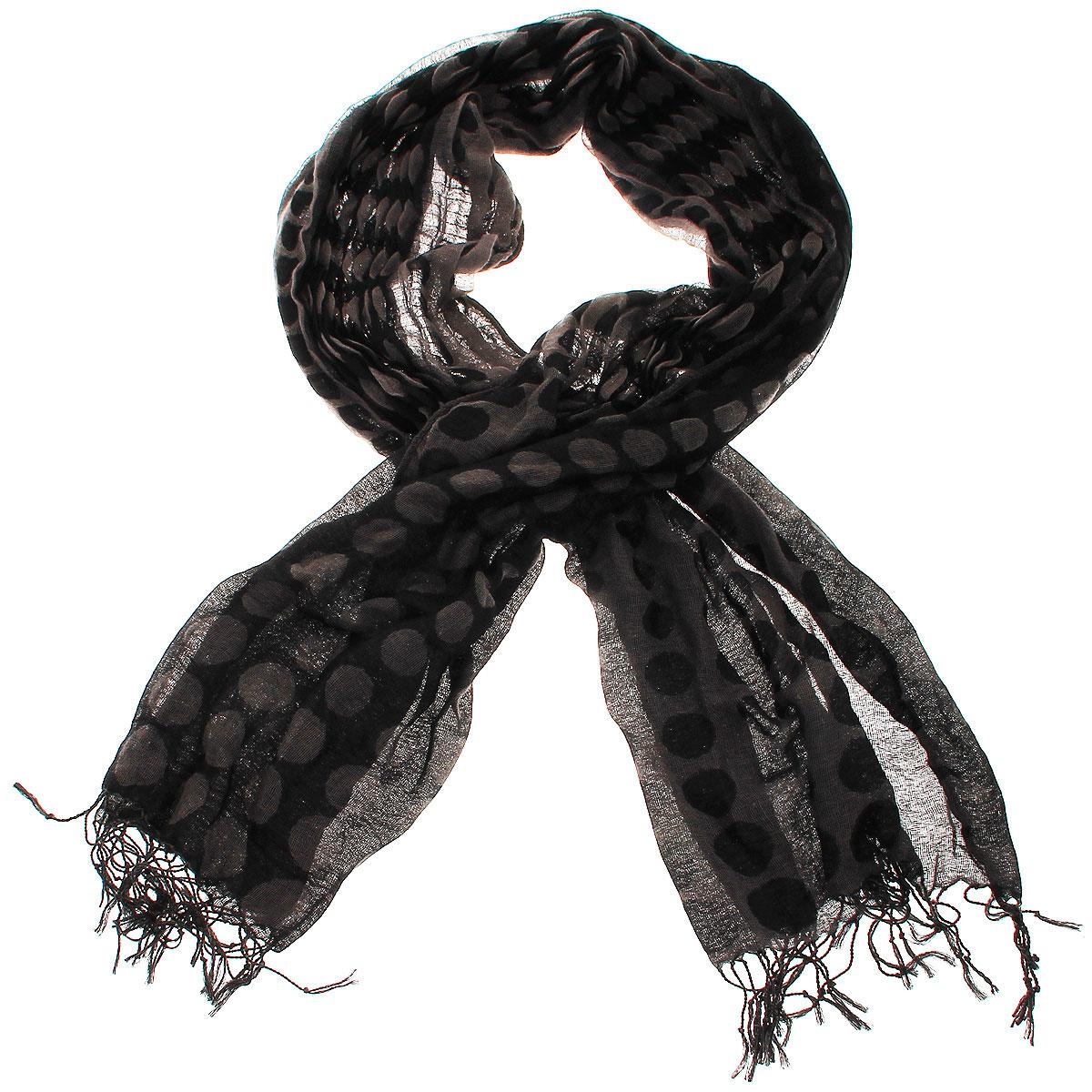 ШарфFH26166Элегантный шарф с орнаментом в крупный горох, станет изысканным, нарядным аксессуаром, который призван подчеркнуть индивидуальность и очарование женщины. Шарф по краям декорирован кистями. Этот модный аксессуар женского гардероба гармонично дополнит образ современной женщины, следящей за своим имиджем и стремящейся всегда оставаться стильной и элегантной. В этом шарфе вы всегда будете выглядеть женственной и привлекательной.