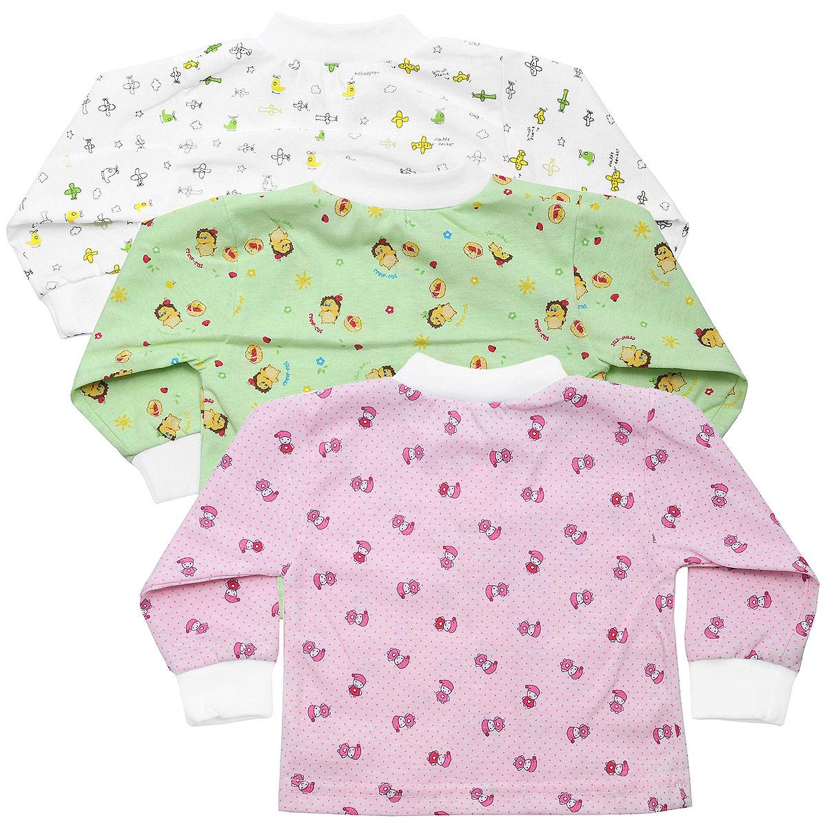 10-201дКомплект Фреш Стайл состоит из трех кофточек для девочки разных цветов с забавными рисунками. Выполненные из натурального хлопка, они необычайно мягкие и приятные на ощупь, не раздражают нежную кожу ребенка и хорошо вентилируются. Кофточки с длинными рукавами и воротником-стойкой застегиваются спереди на кнопки по всей длине, что помогает без проблем переодеть малышку. Оригинальное сочетание тканей и забавный рисунок делают этот предмет детской одежды оригинальным и стильным. УВАЖАЕМЫЕ КЛИЕНТЫ! Обращаем ваше внимание на возможные изменения в дизайне, связанные с ассортиментом продукции: рисунок и цветовая гамма могут отличаться от представленного на изображении. Возможные варианты рисунков и цветов представлены на отдельном изображении фрагментом ткани.