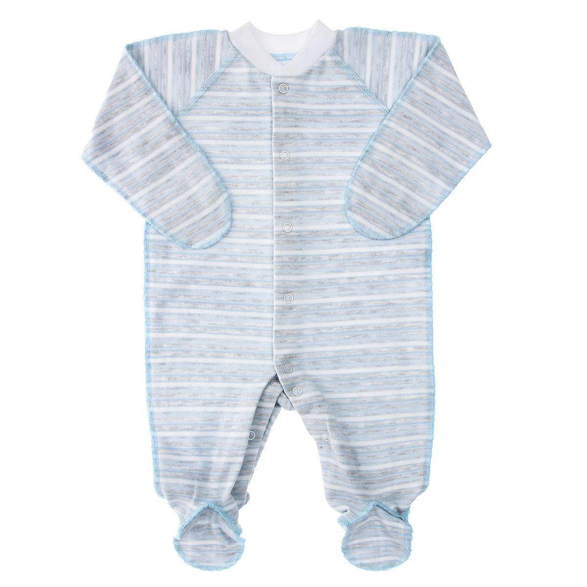 Комбинезон детский. 39-52339-523Комбинезон Фреш Стайл станет идеальным дополнением к гардеробу вашего ребенка. Выполненный из натурального хлопка, он необычайно мягкий и приятный на ощупь, не раздражают нежную кожу ребенка и хорошо вентилируется. Комбинезон с длинными рукавами, закрытыми ножками и воротником-стойкой застегиваются спереди на кнопки по всей длине и на ластовице, что облегчает переодевание ребенка и смену подгузника. Горловина дополнена эластичной резинкой. Благодаря рукавичкам ребенок не поцарапает себя. Оригинальное сочетание тканей и забавный рисунок делают этот предмет детской одежды оригинальным и стильным.