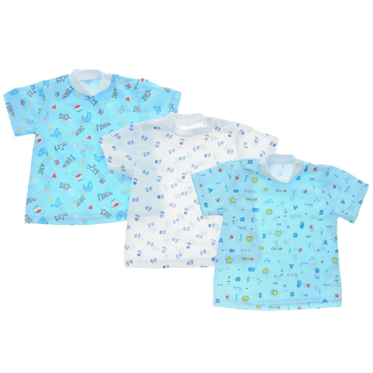 10-237мКомплект Фреш Стайл состоит из трех футболок для мальчика разных цветов с забавными рисунками. Выполненные из натурального хлопка, они необычайно мягкие и приятные на ощупь, не раздражают нежную кожу ребенка и хорошо вентилируются. Футболки с короткими рукавами и воротником-стойкой застегиваются на две застежки-кнопки по плечу, что помогает без проблем переодет малыша. Оригинальное сочетание тканей и забавный рисунок делают этот предмет детской одежды оригинальным и стильным. УВАЖАЕМЫЕ КЛИЕНТЫ! Обращаем ваше внимание на возможные изменения в дизайне, связанные с ассортиментом продукции: рисунок и цветовая гамма могут отличаться от представленного на изображении. Возможные варианты рисунков и цветов представлены на отдельном изображении фрагментом ткани.