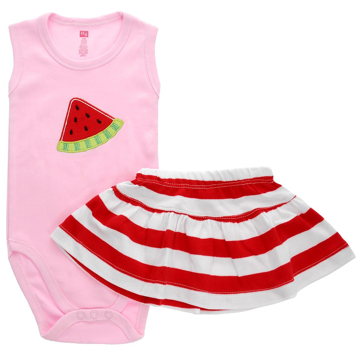 Комплект для девочки Арбуз: боди-майка, юбка. 5501555015Яркий комплект для девочки Hudson Baby Арбуз, состоящий из боди-майки и юбочки, послужит идеальным дополнением к гардеробу вашей малышки в теплое время года, обеспечивая ей наибольший комфорт. Изготовленный из натурального хлопка, он необычайно мягкий и легкий, не раздражает нежную кожу ребенка и хорошо вентилируется, а эластичные швы приятны телу младенца и не препятствуют его движениям. Боди-майка на широких бретелях имеет удобные застежки-кнопки на ластовице, которые помогают легко переодеть младенца и сменить подгузник. На груди оно оформлено нашивкой в виде дольки арбуза. Юбочка, оформленная притом в полоску, благодаря мягкому эластичному поясу не сдавливает животик малышки и не сползает, обеспечивая ей наибольший комфорт. Комплект полностью соответствует особенностям жизни ребенка в ранний период, не стесняя и не ограничивая его в движениях. В нем ваша малышка всегда будет в центре внимания.