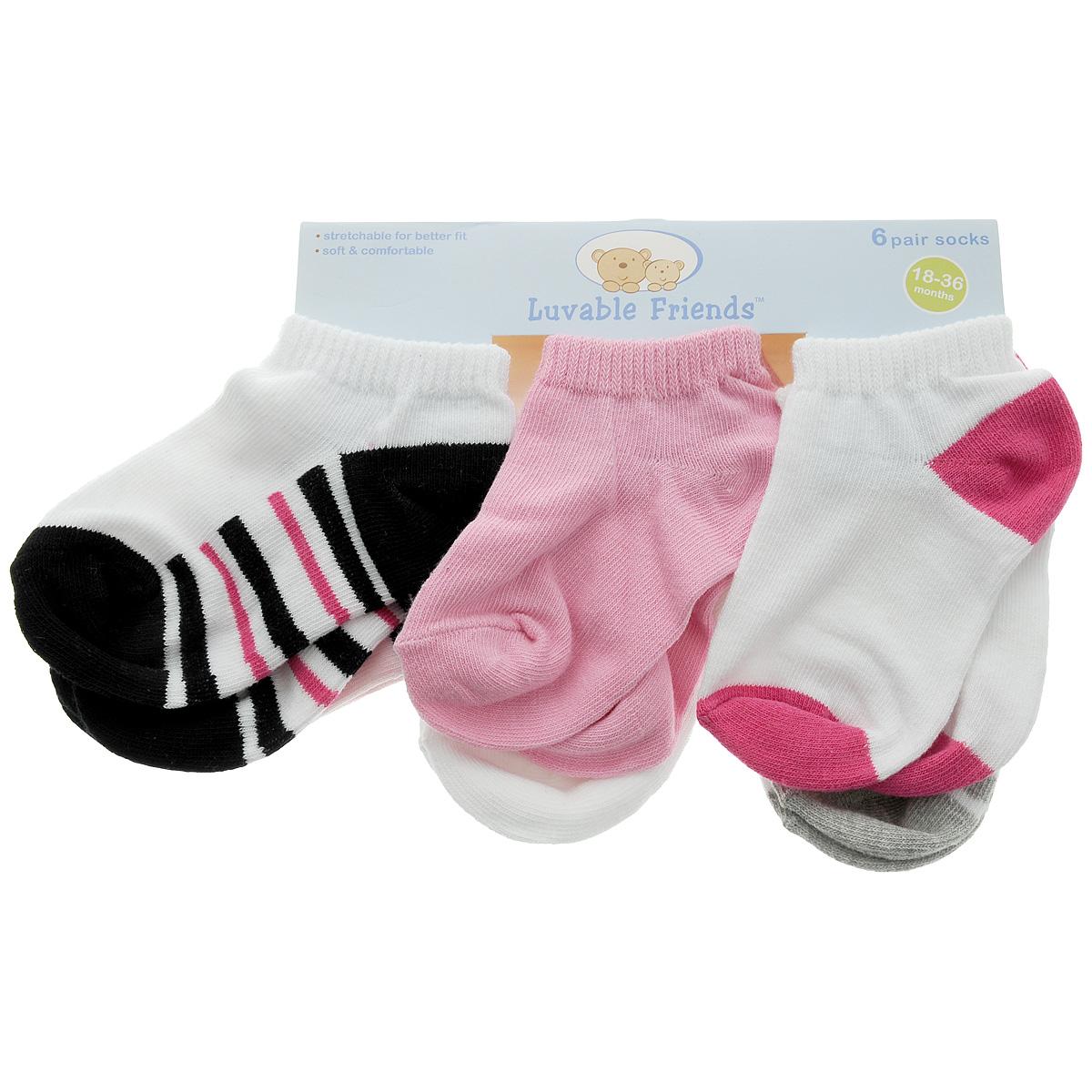 Носки26090Комфортные, прочные и красивые детские носки Luvable Friends очень мягкие на ощупь, а широкая резинка плотно облегает ножку ребенка, не сдавливая ее, благодаря чему малышу будет комфортно и удобно. Комплект состоит из шести пар разноцветных носочков.