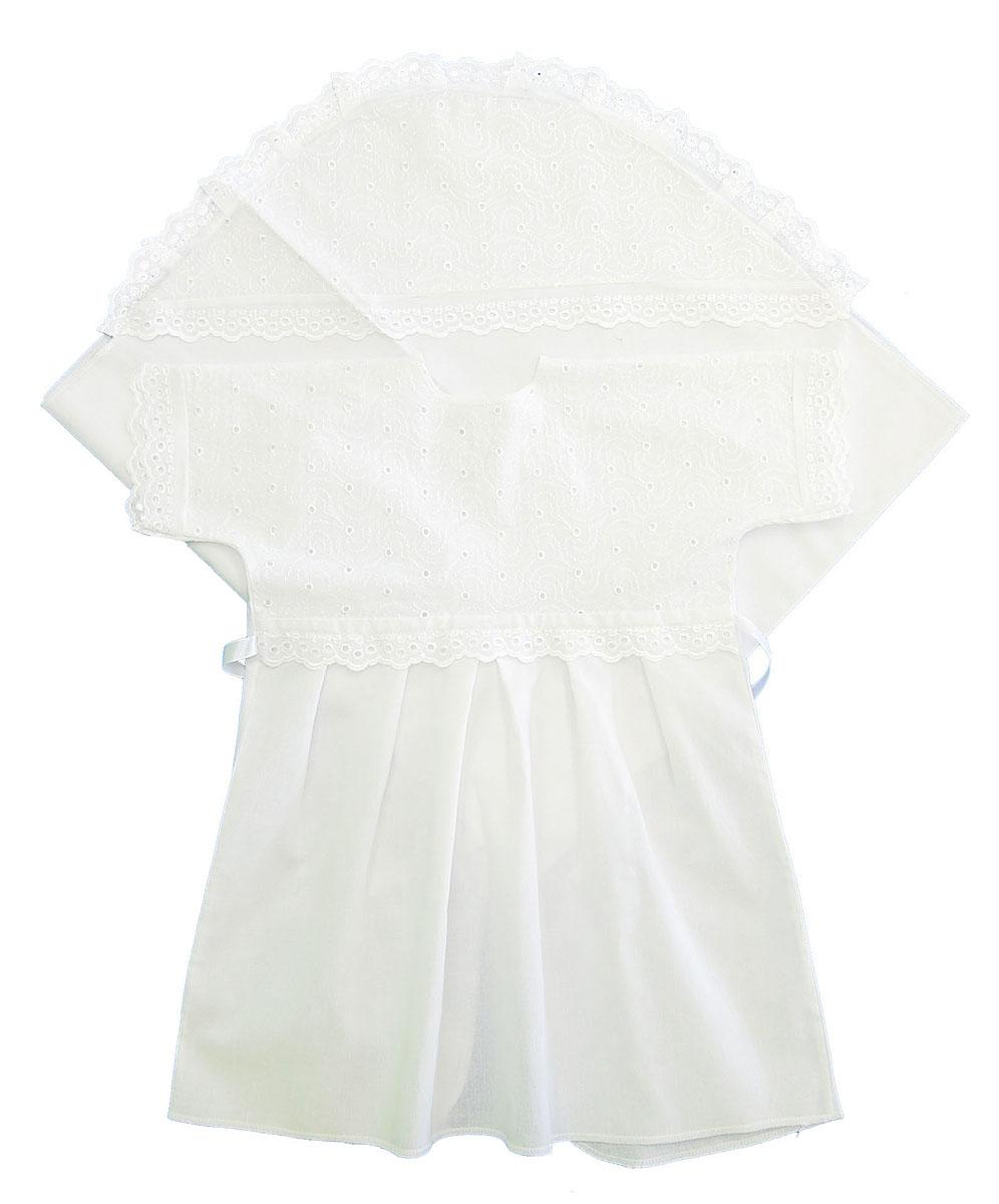 Комплект для крещения детский. 14021402Великолепный комплект для крещения Трон-плюс состоит из рубашки и пеленки с капюшоном. Изготовленный из натурального хлопка, он необычайно мягкий и приятный на ощупь, не сковывает движения младенца и позволяет коже дышать, не раздражает нежную кожу ребенка, обеспечивая ему наибольший комфорт. Рубашечка с запахом сзади и цельнокроенными рукавами имеет полочку на кокетке, отделанную средним шитьем. От линии талии заложены складки. Полочка и край рукавов оформлены ажурными рюшами. Спереди рубашка украшена вышивкой. Завязывается рубашка с помощью атласного пояска. Уголок с капюшоном позволяет полностью завернуть малыша после купания. Капюшон украшен ажурными рюшами и вышивкой. Такой комплект станет незаменимым для обряда Крещения и поможет сделать его запоминающимся.