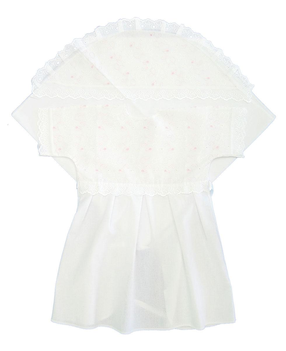Крестильный набор1402Великолепный комплект для крещения Трон-плюс состоит из рубашки и пеленки с капюшоном. Изготовленный из натурального хлопка, он необычайно мягкий и приятный на ощупь, не сковывает движения младенца и позволяет коже дышать, не раздражает нежную кожу ребенка, обеспечивая ему наибольший комфорт. Рубашечка с запахом сзади и цельнокроенными рукавами имеет полочку на кокетке, отделанную средним шитьем. От линии талии заложены складки. Полочка и край рукавов оформлены ажурными рюшами. Спереди рубашка украшена вышивкой. Завязывается рубашка с помощью атласного пояска. Уголок с капюшоном позволяет полностью завернуть малыша после купания. Капюшон украшен ажурными рюшами и вышивкой. Такой комплект станет незаменимым для обряда Крещения и поможет сделать его запоминающимся.