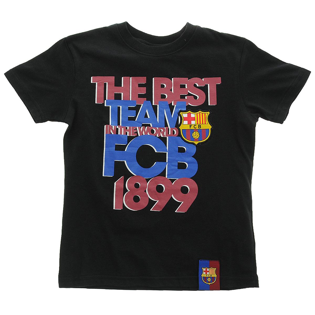 Футболка детская FC Barcelona - The Best Team (130130)130130Детская футболка классического кроя с короткими рукавами и круглым вырезом горловины на груди оформлена оригинальным принтом в виде надписи The Best Team in The World FCB 1899 и шевроном в виде логотипа футбольного клуба Barcelona. Изготовлена из натурального хлопка, необычайно мягкого и приятного на ощупь, не сковывает движения и позволяет коже дышать. Не раздражает даже самую нежную и чувствительную кожу, обеспечивая наибольший комфорт. Идеальный вариант для повседневной носки!