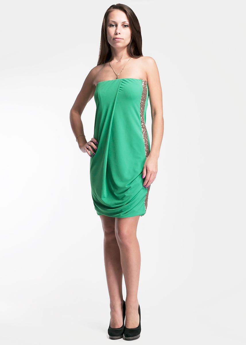 Платье. 61D2HA61D2HA-4030Стильное женское платье Toy G, выполненное из высококачественного материала, будет отлично смотреться на вас. Модель облегающего кроя без лямок сбоку расшито пайетками и оформлено небольшими складками. Сверху платье дополнено эластичной резинкой и силиконовой полоской. Это платье отличный вариант для вашего гардероба. Идеальный вариант для создания эффектного образа.
