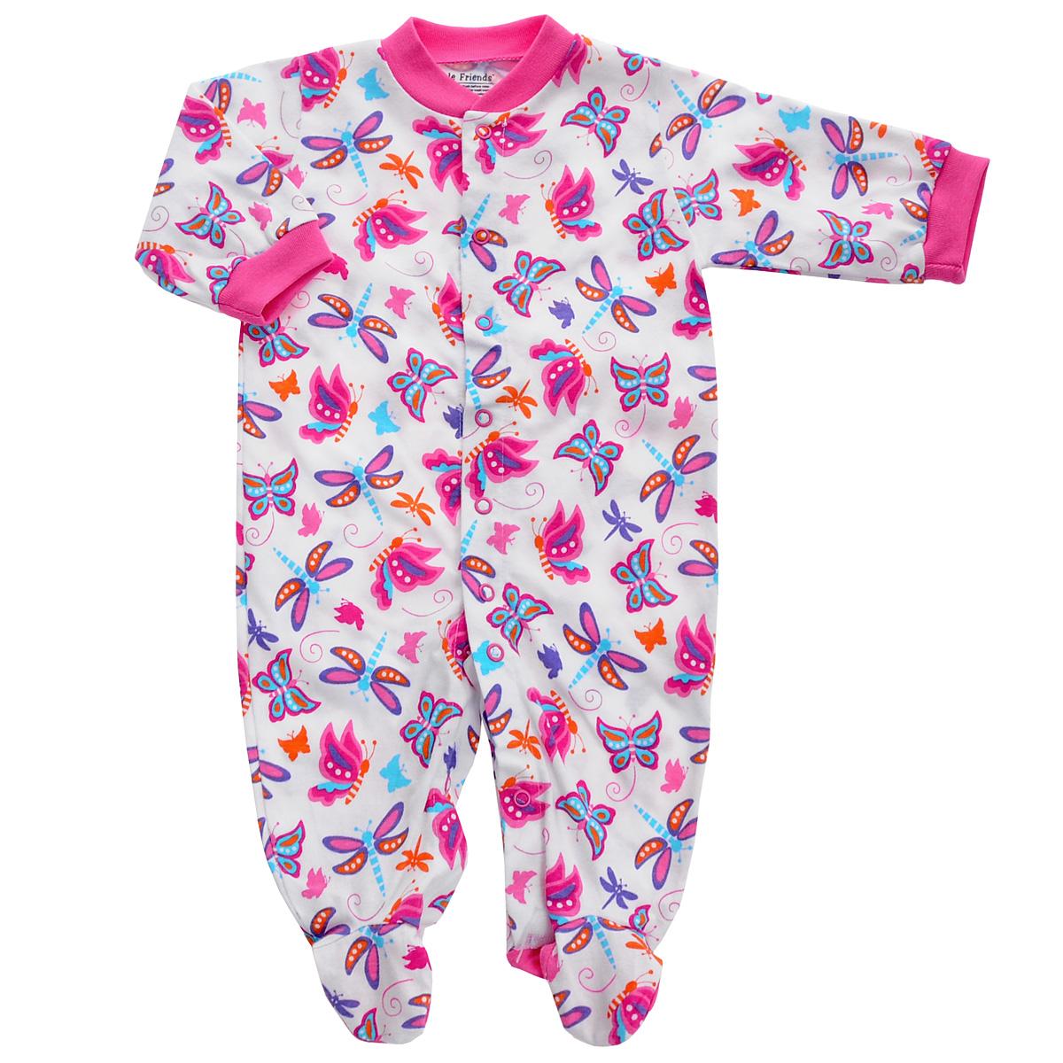 Комбинезон детский. 8310083100_стрекозаДетский комбинезон Luvable Friends - очень удобный и практичный вид одежды для малышей. Комбинезон выполнен из натурального хлопка, благодаря чему он необычайно мягкий и приятный на ощупь, не раздражают нежную кожу ребенка и хорошо вентилируются, а эластичные швы приятны телу малыша и не препятствуют его движениям. Комбинезон с длинными рукавами и закрытыми ножками имеет застежки-кнопки от горловины до щиколоток, которые помогают легко переодеть младенца или сменить подгузник. Рукава понизу дополнены неширокими трикотажными манжетами, мягко облегающими запястья. С детским комбинезоном спинка и ножки вашего малыша всегда будут в тепле, он идеален для использования днем и незаменим ночью. Комбинезон полностью соответствует особенностям жизни младенца в ранний период, не стесняя и не ограничивая его в движениях!