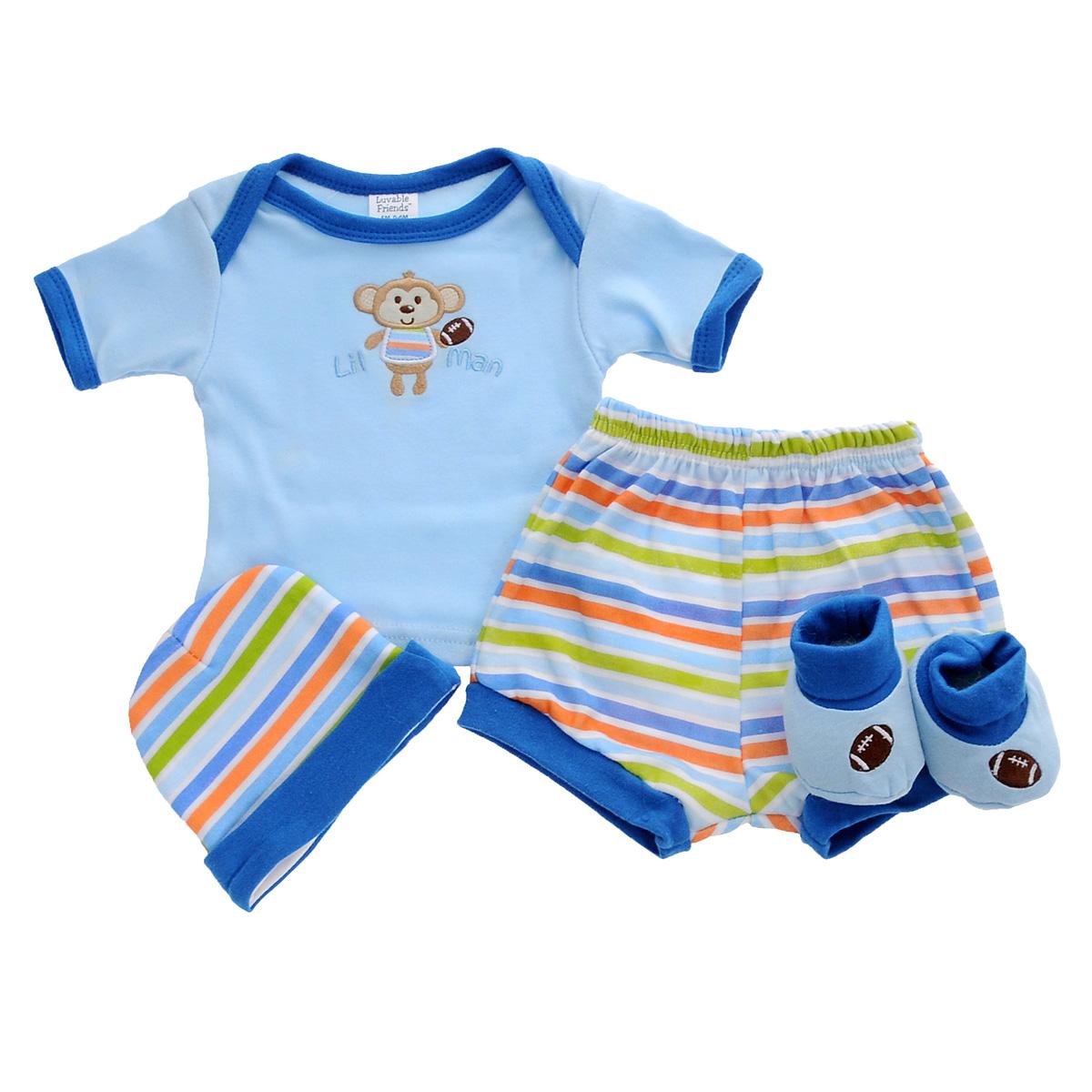 Подарочный комплект для новорожденного: футболка, шорты, шапочка, пинетки. 0701507015Комплект для новорожденного Luvable Friends - это замечательный подарок, который прекрасно подойдет для первых дней жизни малыша. Комплект состоит из футболки, шортиков, шапочки и пинеток. Изготовленный из натурального хлопка, он необычайно мягкий и приятный на ощупь, не сковывает движения малыша и позволяет коже дышать, не раздражает даже самую нежную и чувствительную кожу ребенка, обеспечивая ему наибольший комфорт. Удобная футболка с круглым вырезом горловины и короткими рукавами имеет специальные запахи на плечах, что значительно облегчает процесс переодевания ребенка. На груди она оформлена забавной вышивкой. Шортики фонарики благодаря мягкому эластичному поясу не сдавливают животик малыша и не сползают, обеспечивая ему наибольший комфорт, идеально подходят для ношения с подгузником и без него. Мягкая шапочка с отворотом, необходимая любому младенцу, защищает еще не заросший родничок, щадит чувствительный слух малыша, прикрывая ушки, и предохраняет от...