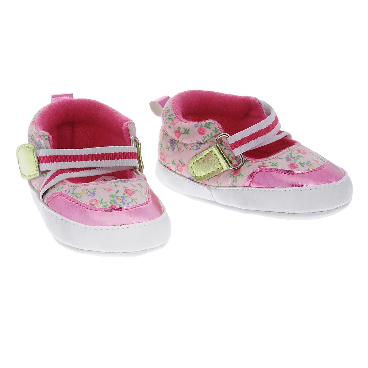 11205Оригинальные детские пинетки для девочки Luvable Friends Фанни, стилизованные под туфельки - это легкая и удобная обувь для малышей. Удобная эластичная застежка на липучке, надежно фиксирующая пинетки на ножке малышки, мягкие, не сдавливающие ножку материалы делают модель практичной и популярной. Стопа оформлена прорезиненным рельефным рисунком, благодаря которому ребенок не будет скользить. Такие пинетки - отличное решение для малышей и их родителей!