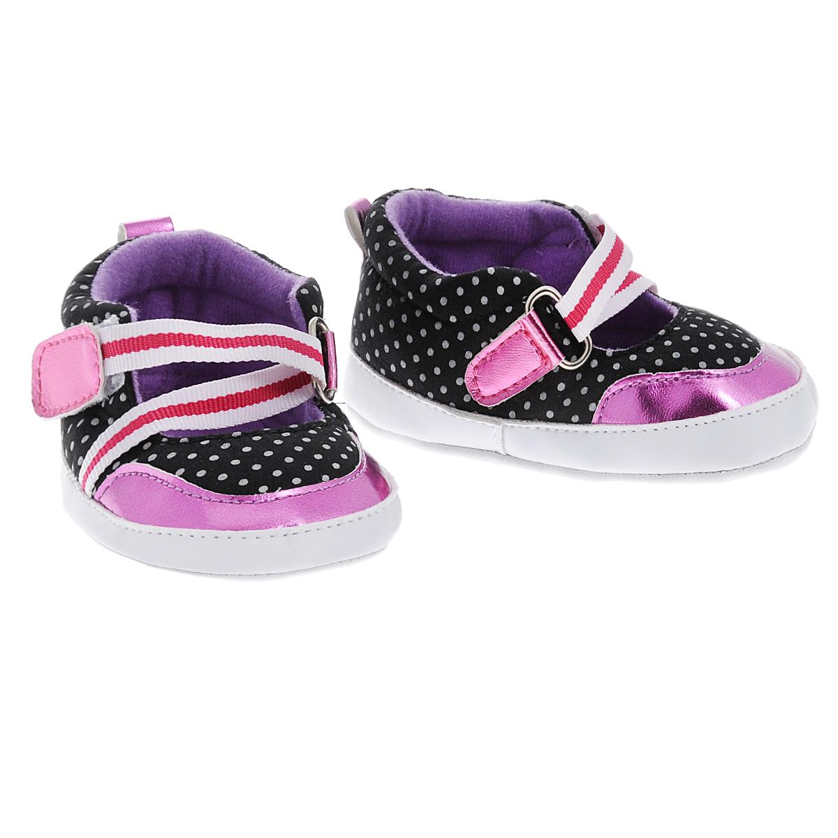 Пинетки для девочки Фанни. 1120511205Оригинальные детские пинетки для девочки Luvable Friends Фанни, стилизованные под туфельки - это легкая и удобная обувь для малышей. Удобная эластичная застежка на липучке, надежно фиксирующая пинетки на ножке малышки, мягкие, не сдавливающие ножку материалы делают модель практичной и популярной. Стопа оформлена прорезиненным рельефным рисунком, благодаря которому ребенок не будет скользить. Такие пинетки - отличное решение для малышей и их родителей!