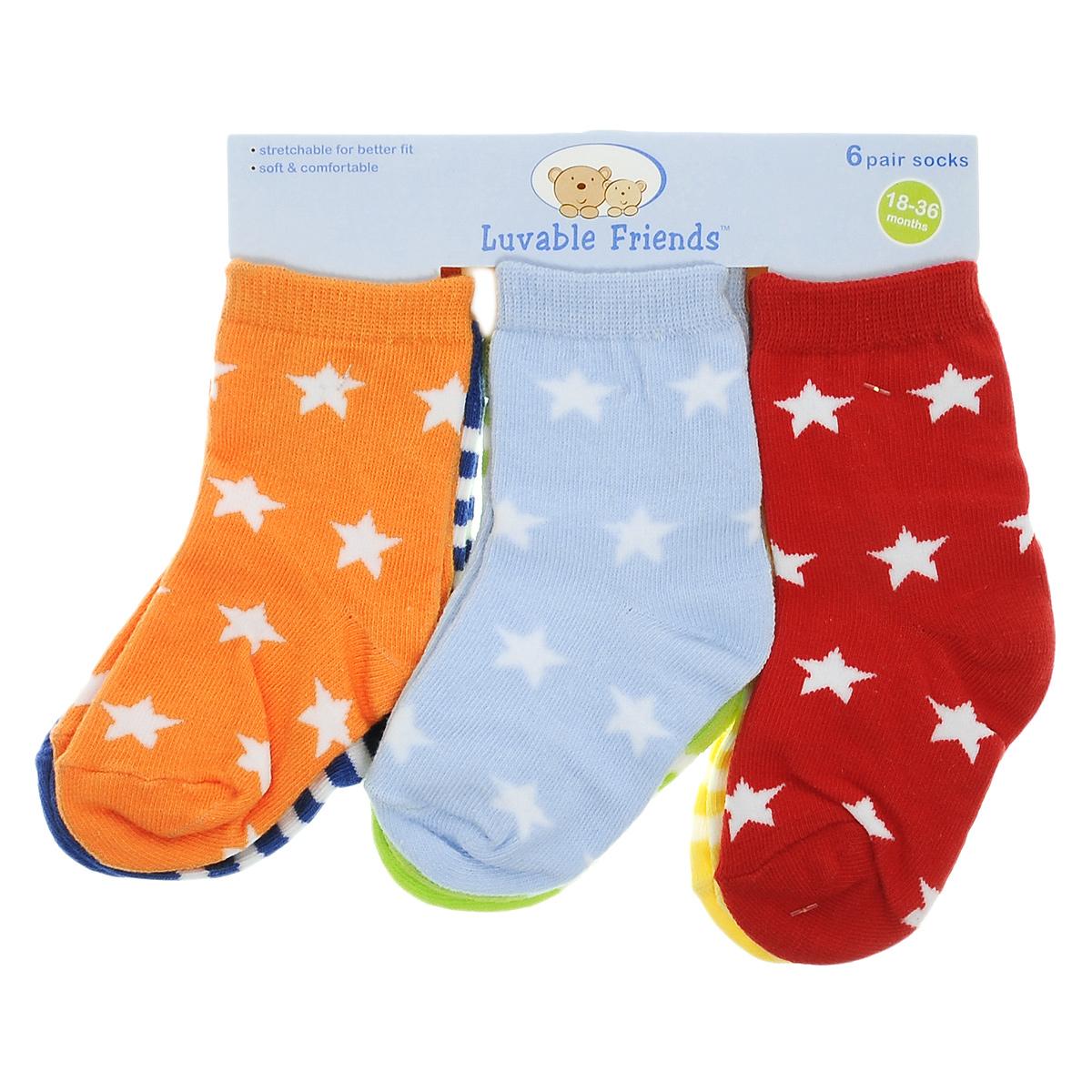 Носки26100Комфортные, красивые и прочные детские носки Luvable Friend Веселые полоски очень мягкие на ощупь, а эластичная резинка плотно облегает ножку ребенка, не сдавливая ее, благодаря чему малышу будет комфортно и удобно. Носочки хорошо тянутся, не деформируясь. Комплект состоит их шести пар носочков с различной цветовой гаммой.