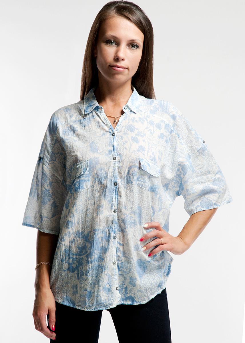 Рубашка женская. 1841018410Стильная женская рубашка Yerse с эффектом помятости, изготовленная из высококачественного натурального хлопка, не сковывает движения, обеспечивая наибольший комфорт. Модель свободного кроя с отложным воротничком и короткими рукавами застегивается на пуговички. На груди она дополнена двумя небольшими накладными кармашками с клапанами. Такая рубашка прекрасно дополнит ваш образ и позволит выделиться из толпы.