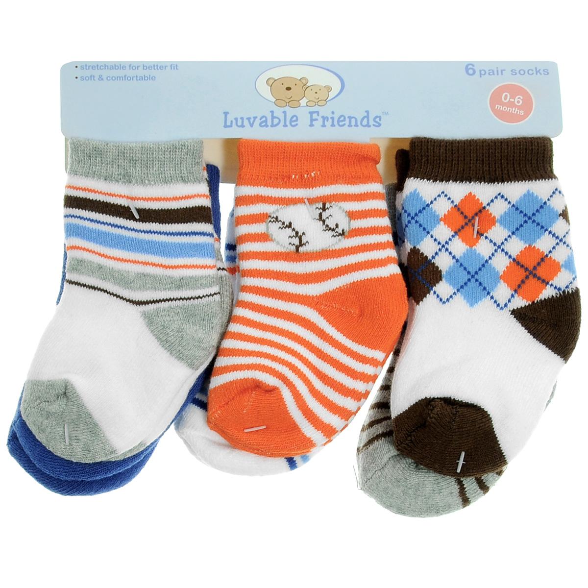 Носки26110Комфортные и прочные детские носки Luvable Friends Яркий принт, махровые внутри, очень мягкие на ощупь. Эластичная резинка плотно облегает ножку ребенка, не сдавливая ее, благодаря чему малышу будет комфортно и удобно. Комплект состоит из шести пар носочков с различной цветовой гаммой и притом.