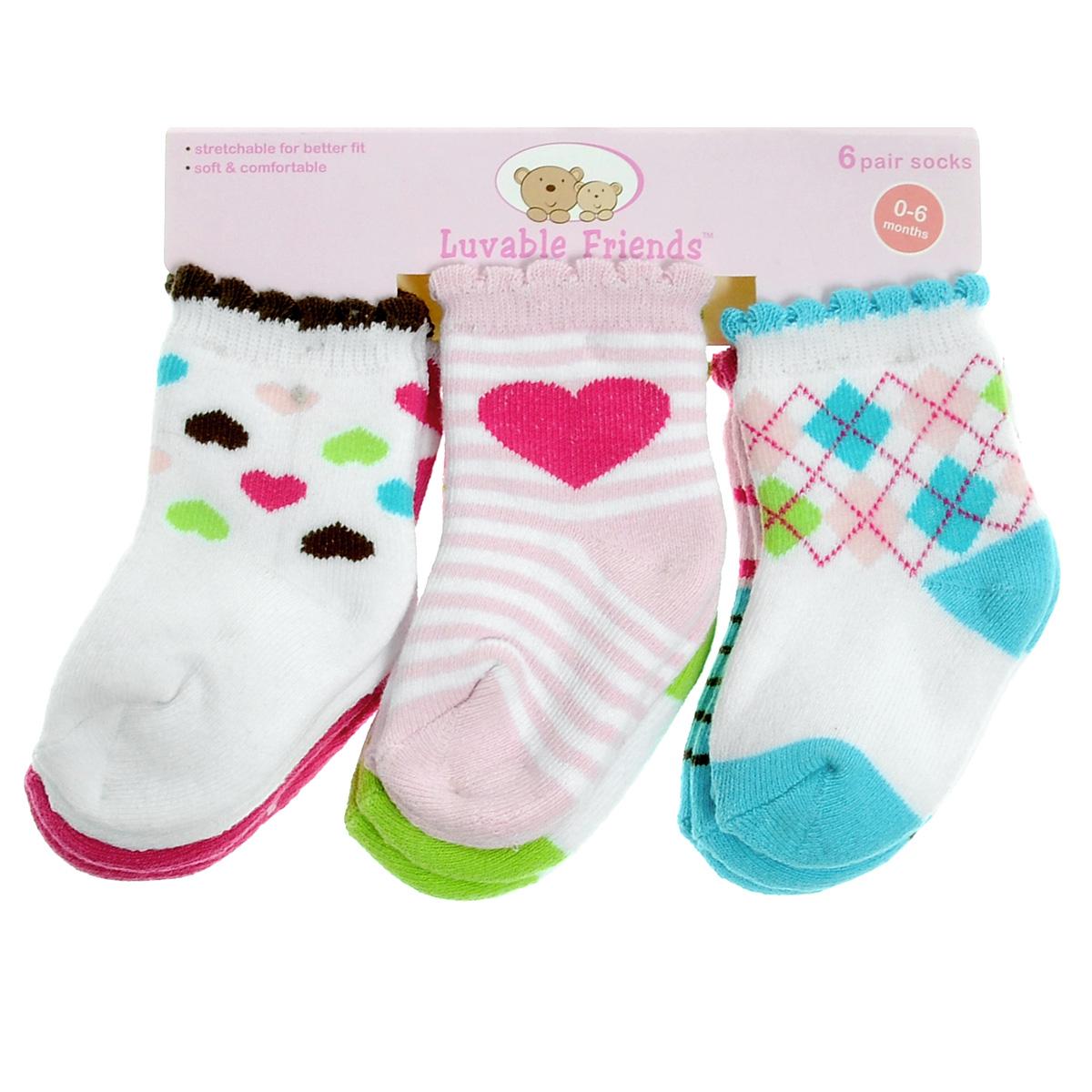 Комплект носков26110Комфортные и прочные детские носки Luvable Friends Яркий принт, махровые внутри, очень мягкие на ощупь. Эластичная резинка плотно облегает ножку ребенка, не сдавливая ее, благодаря чему малышу будет комфортно и удобно. Комплект состоит из шести пар носочков с различной цветовой гаммой и притом.