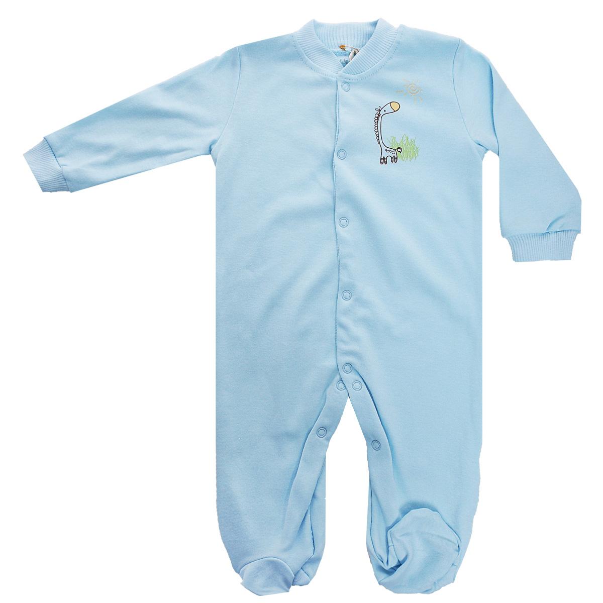37-550Удобный детский комбинезон Клякса послужит идеальным дополнением к гардеробу ребенка. Комбинезон изготовлен из интерлок-пенье - натурального хлопка, благодаря чему он необычайно мягкий и легкий, не раздражает нежную кожу младенца и хорошо вентилируется, а эластичные швы приятны телу малыша и не препятствуют его движениям. Комбинезон с длинными рукавами, небольшим воротничком-стойкой и закрытыми ножками имеет ассиметричные застежки-кнопки от горловины до щиколотки, которые помогают легко переодеть ребенка или сменить подгузник. Низ рукавов дополнен широкими эластичными манжетами, не пережимающими запястья малыша. На груди изделие оформлено оригинальным принтом с изображением забавного животного. Комбинезон полностью соответствует особенностям жизни ребенка в ранний период, не стесняя и не ограничивая его в движениях!