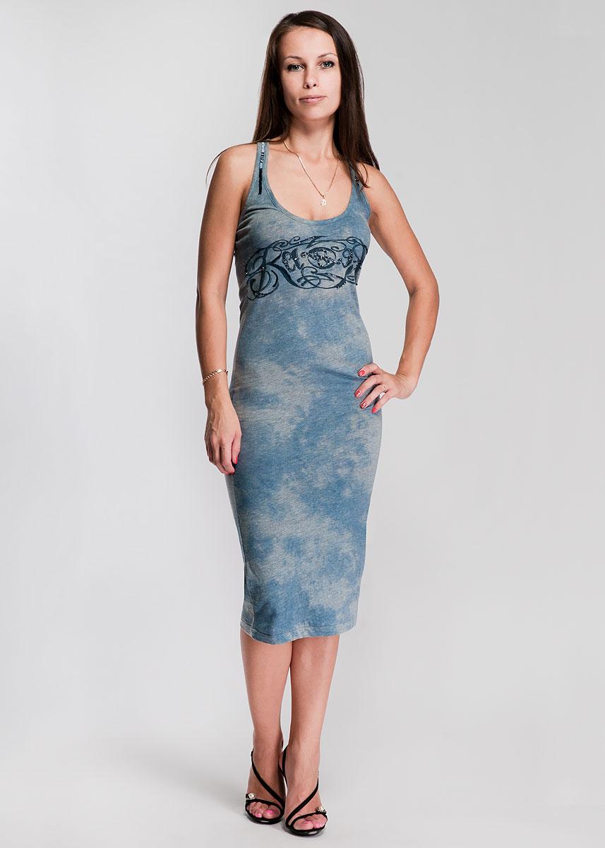 Платье22DVE0026Модное платье, маечного типа, изготовленное из высококачественного материала, очень мягкое на ощупь, не раздражает даже самую нежную и чувствительную кожу и хорошо вентилируется. Модель прямого покроя, с круглым вырезом горловины. Платье декорировано стеклярусом, бисером и стразами на груди и лямках, перекрещенных сзади на спине. Идеальный вариант для тех, кто ценит комфорт и качество.