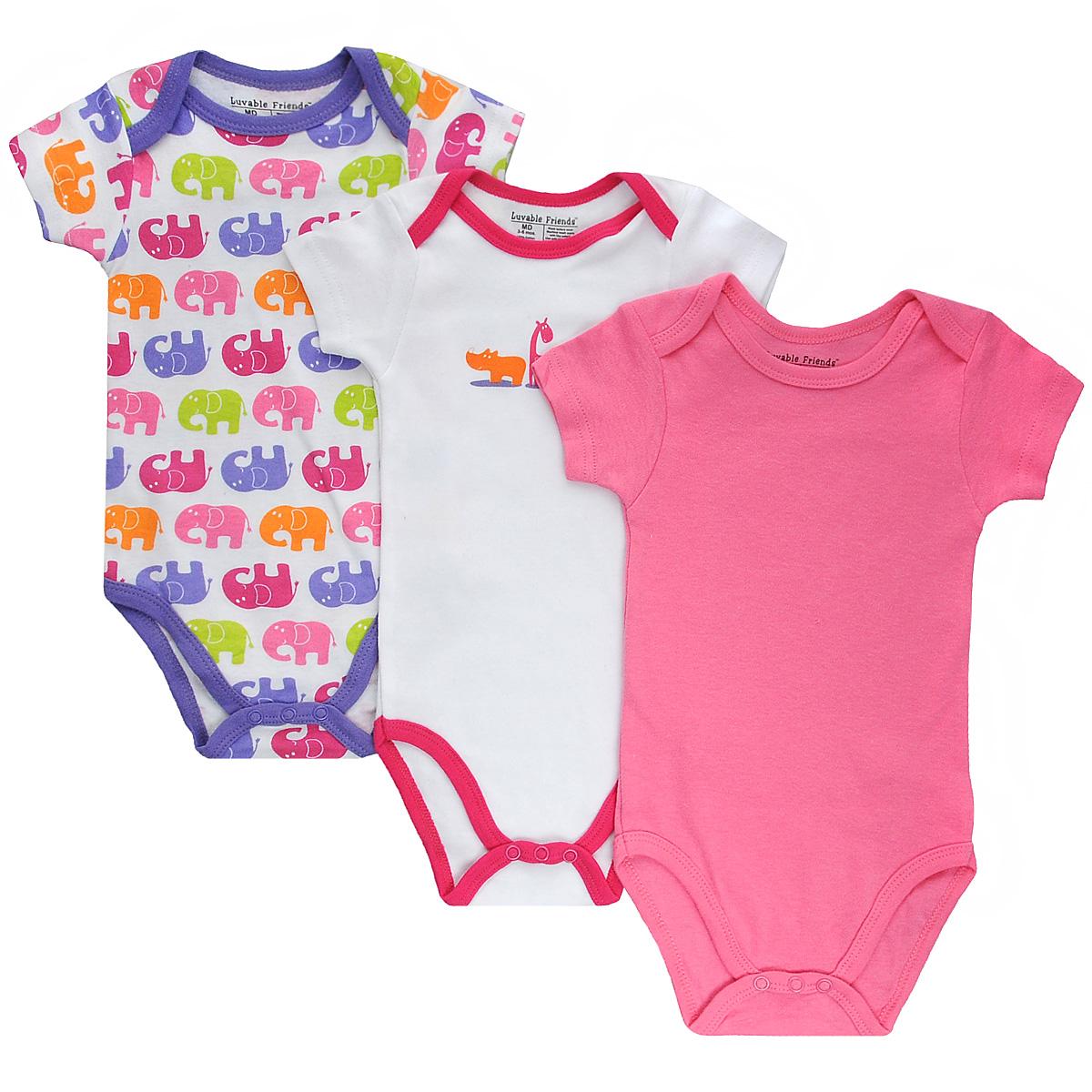 Боди детское Сафари, 3 шт. 3064030640Боди для новорожденного Luvable Friends Сафари с короткими рукавами послужит идеальным дополнением к гардеробу вашего малыша в теплое время года, обеспечивая ему наибольший комфорт. Боди изготовлено из натурального хлопка, благодаря чему оно необычайно мягкое и легкое, не раздражает нежную кожу ребенка и хорошо вентилируется, а эластичные швы приятны телу младенца и не препятствуют его движениям. Удобные запахи на плечах и кнопки на ластовице помогают легко переодеть младенца и сменить подгузник. Боди полностью соответствует особенностям жизни ребенка в ранний период, не стесняя и не ограничивая его в движениях. В нем ваш малыш всегда будет в центре внимания. В комплект входят боди трех расцветок.