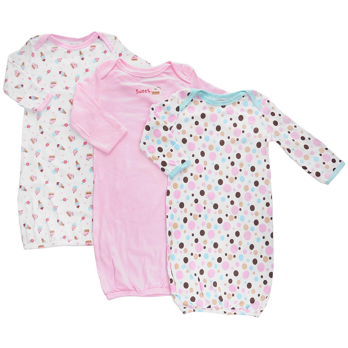 Ночная рубашка33000Детская сорочка Luvable Friends - очень удобный и практичный вид одежды для малышей. Сорочка выполнена из натурального хлопка, благодаря чему она необычайно мягкая и приятная на ощупь, не раздражают нежную кожу ребенка и хорошо вентилируются, а эластичные швы приятны телу малыша и не препятствуют его движениям. Сорочка с длинными рукавами имеет специальные запахи на плечах, которые помогают легко переодеть младенца. Рукава понизу дополнены рукавичками-антицарапками, которые при желании можно отвернуть. Детская сорочка незаменима ночью, полностью соответствует особенностям жизни младенца в ранний период, не стесняя и не ограничивая его в движениях! В комплект входят сорочки трех расцветок.
