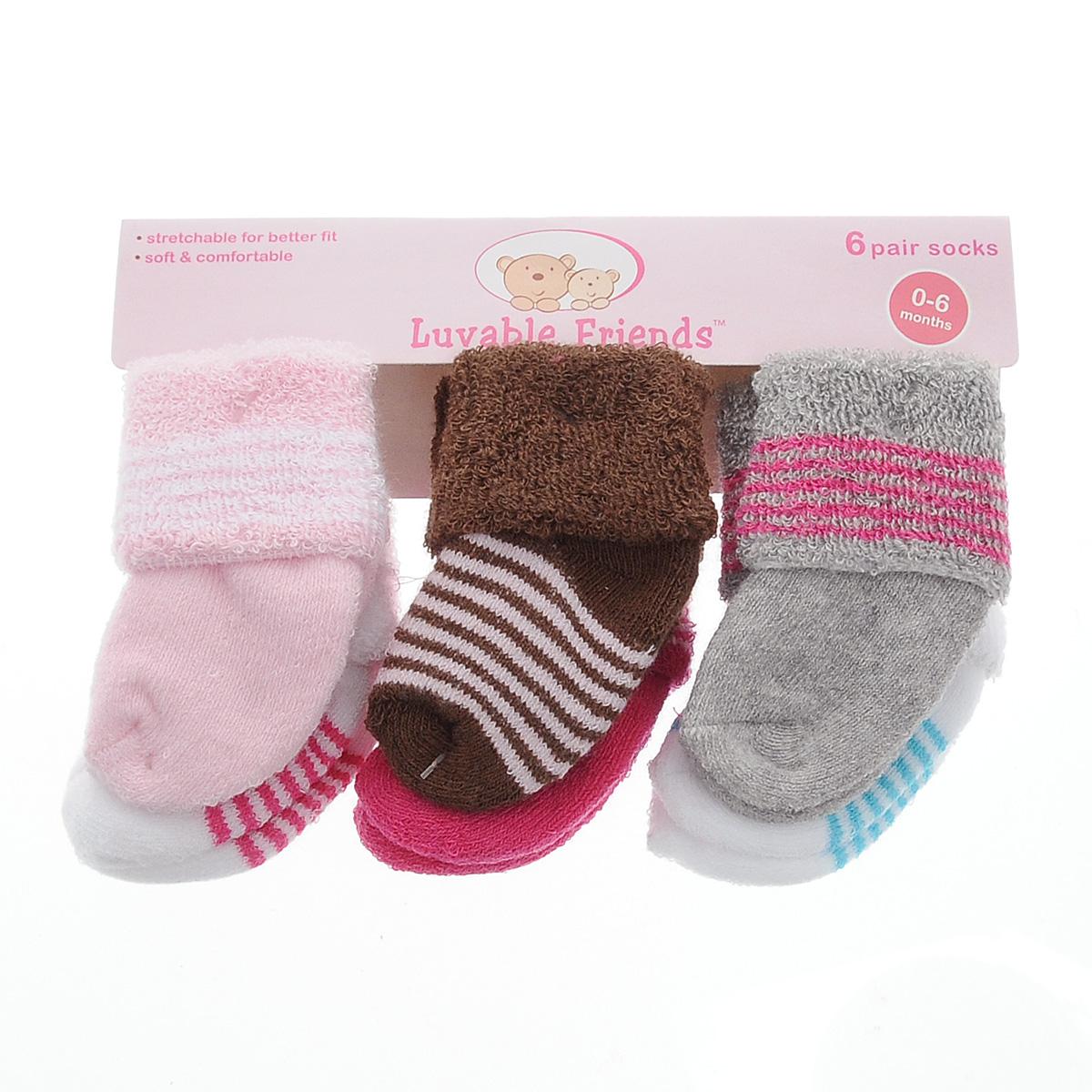 Носки20615Комфортные, прочные и красивые детские носки Luvable Friends, махровые внутри, очень мягкие на ощупь, а широкая резинка-отворот плотно облегает ножку ребенка, не сдавливая ее, благодаря чему малышу будет комфортно и удобно. Комплект состоит из шести пар носочков различной расцветки.