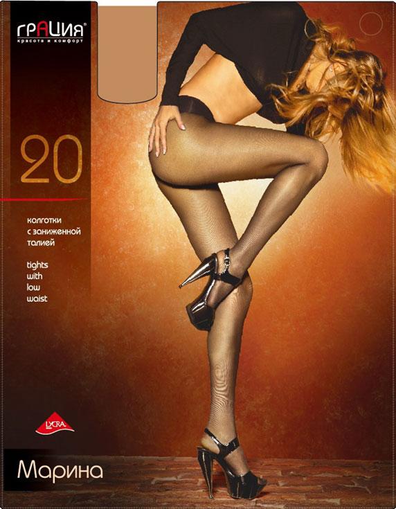Колготки классические Марина 20Марина 20Плотность: 20 ден. Мягкие и шелковистые колготки с заниженной талией. Широкий эластичный пояс комфортно облегает линию бедер, оставляя талию открытой. Ластовица из хлопка и плоские швы. Колготки прозрачные по всей длине. В коллекциях колготок Грация представлены модели, которые станут удачным дополнением к гардеробу любой женщины. Модели с заниженной и классической линией талии, совсем тоненькие с эффектом прохлады для жарких дней и утепленные с добавлением шерсти. Любая модница знает, что особое внимание при выборе одежки для своих ножек следует уделять фактуре изделия. В коллекции колготок Грация вы найдете и шелковистые колготки с добавлением лайкры, которые окутают ваши ножки легким мерцанием, и более строгие матовые модели. Но главная особенность колготок Грация - их практичность: они устойчивы к появлению затяжек и очень прочны. В особенно уязвимых зонах многие модели специально уплотнены, что обеспечивает дополнительную защиту.