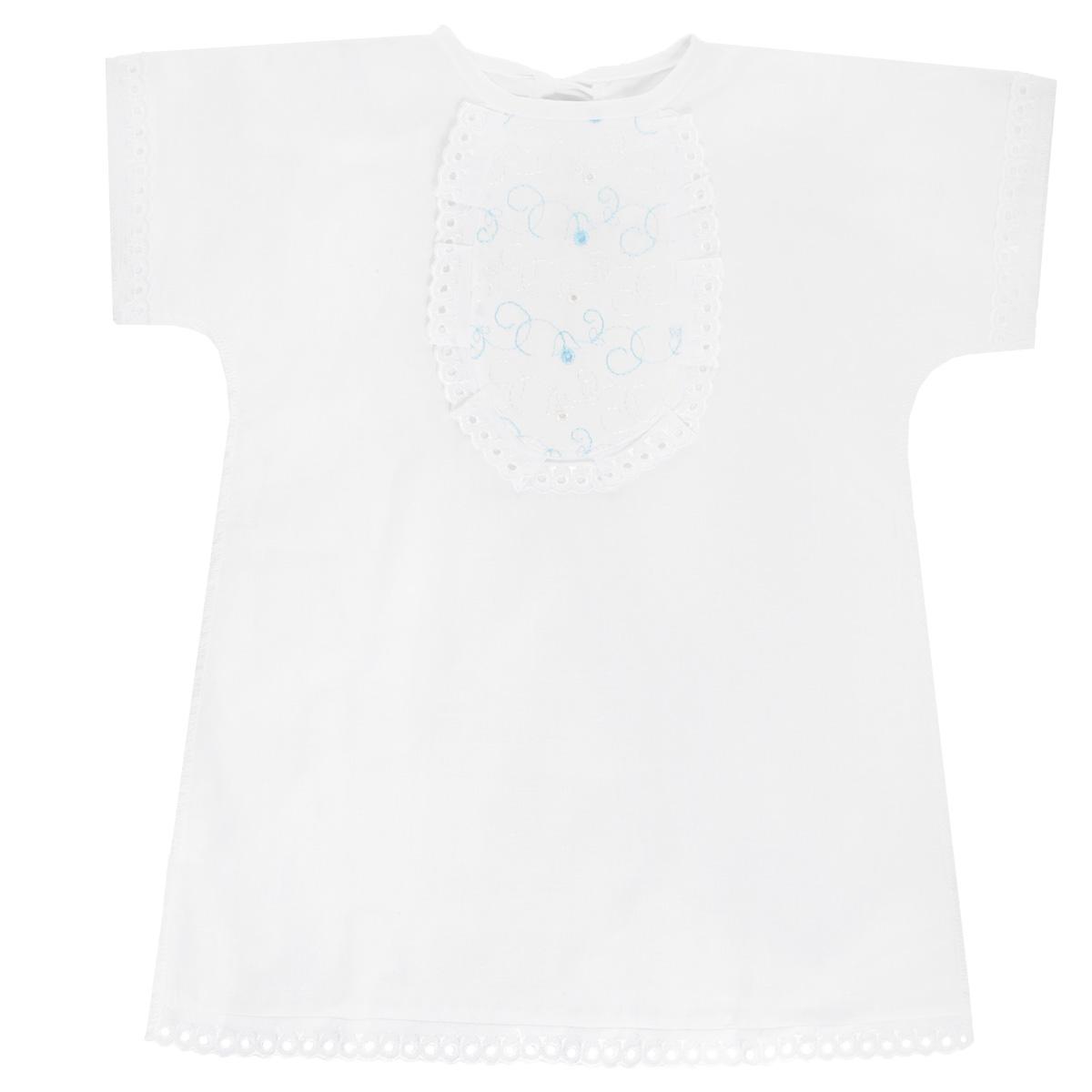 Крестильный набор1135Крестильная рубашка Трон-плюс, выполненная из натурального хлопка, станет незаменимым атрибутом крещения. Рубашка необычайно мягкая и приятная на ощупь, не сковывает движения младенца и позволяет коже дышать, не раздражает нежную кожу ребенка, обеспечивая ему наибольший комфорт. Рубашка трапециевидной формы с короткими рукавами имеет две завязки сзади, которые помогают с легкостью переодеть младенца. Украшена рубашка отделкой в виде жабо. Низ рукавов и низ изделия оформлены ажурными петельками. По бокам рубашечка дополнена двумя небольшими разрезами. Швы выполнены наружу. Благодаря такой рубашке ваш ребенок не замерзнет, и будет выглядеть нарядно.