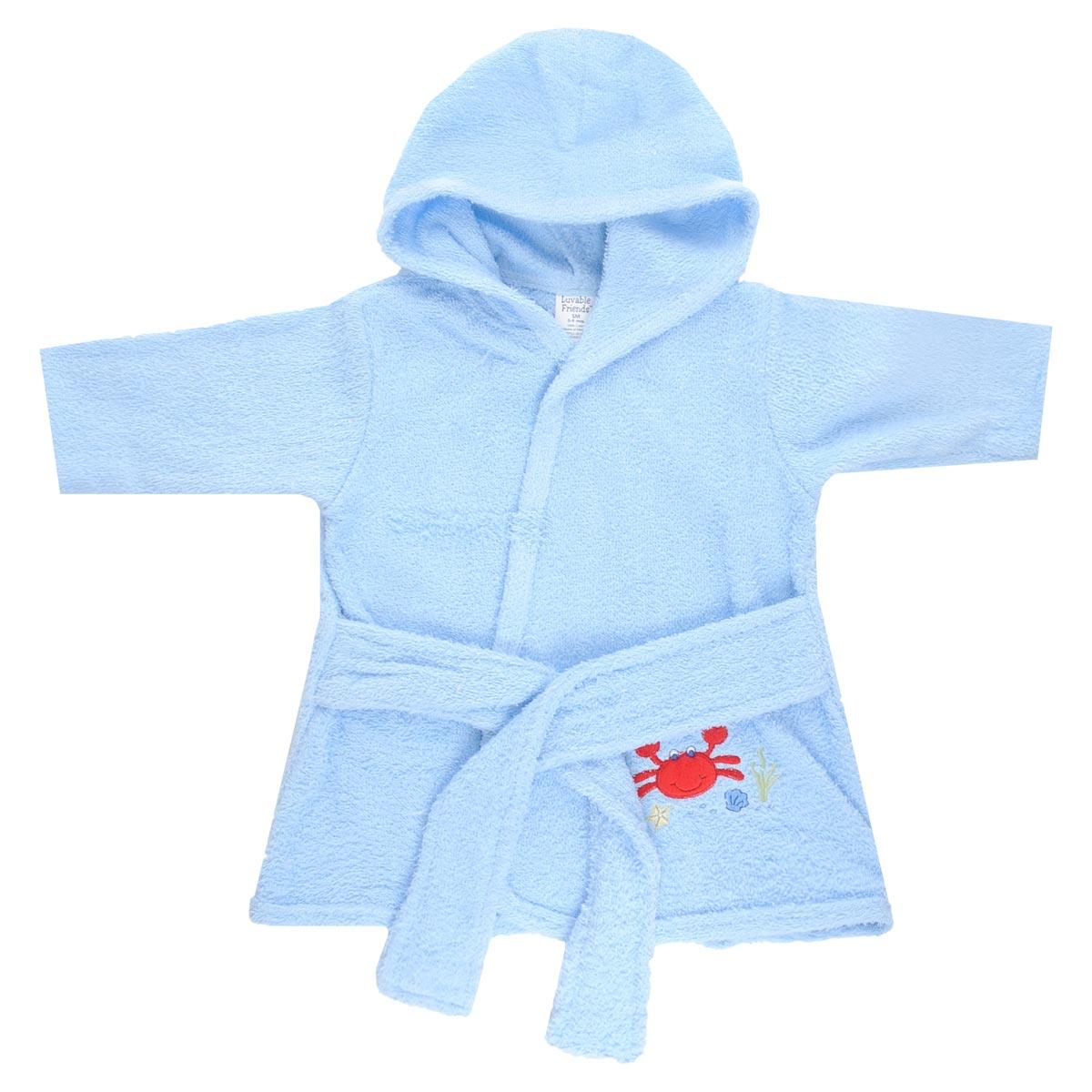 Комплект для новорожденного: халат, тапочки. 0515805158Прекрасный комплект для новорожденного Luvable Friends состоит из банного халатика с капюшоном и тапочек-пинеток. Махровая поверхность хорошо впитывает влагу, защищая малыша от переохлаждения. Халатик и тапочки оформлены оригинальными вышивками. Халат на талии дополнен широким пояском, а тапочки эластичной перетяжкой, благодаря чему надежно держаться на ножке. В таком комплекте вашему малышу будет тепло и уютно после купания.