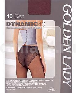 Колготки женские Dynamic 40Dynamic 40Элегантные прозрачные эластичные колготки Golden Lady Dynamic 40 с ажурными трусиками-бикини, с комфортным швом, гигиеничной ластовицей и невидимым мыском.