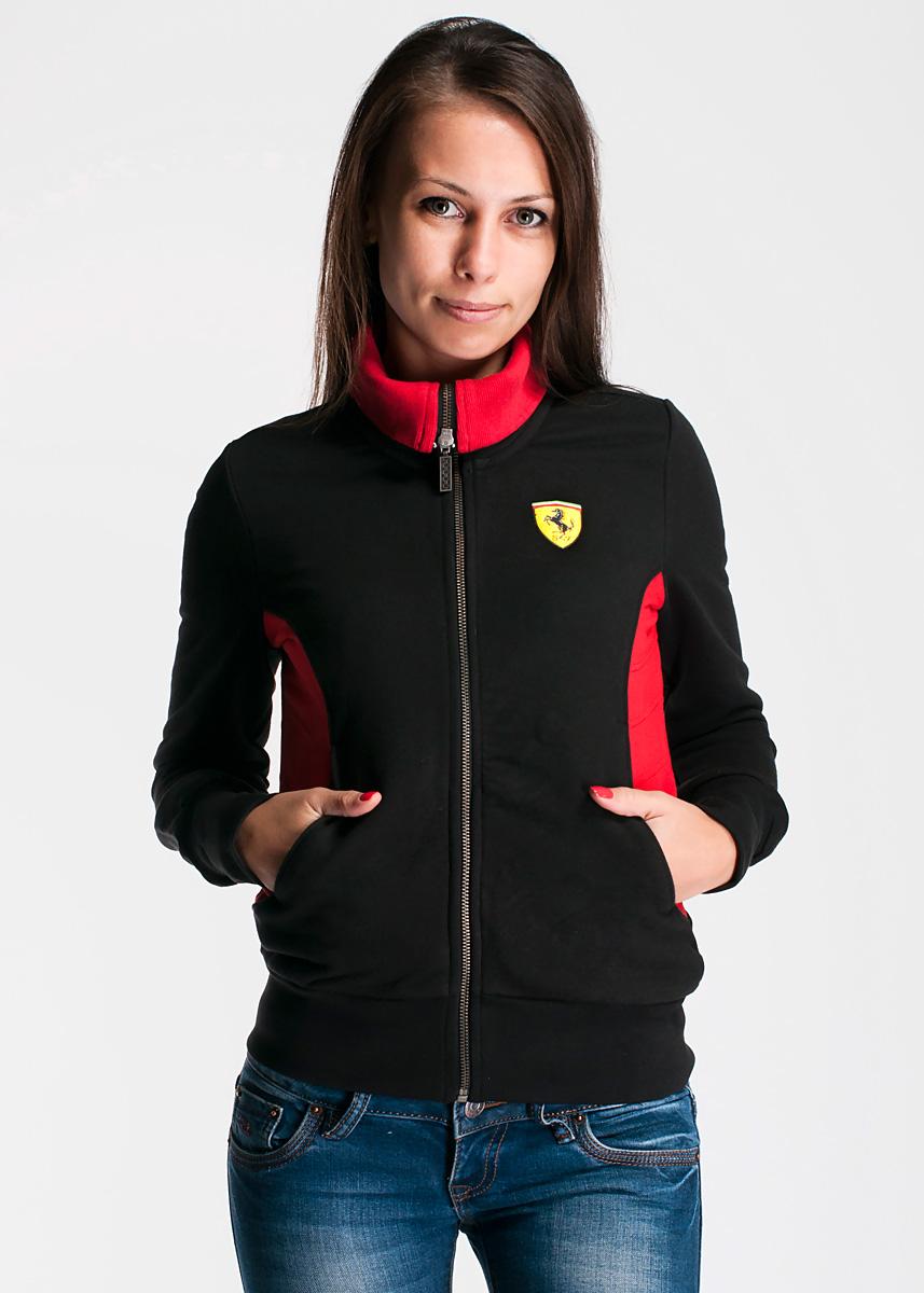Толстовка женская. 50000205000020_100Современная и удобная женская толстовка Ferrari выполнена из плотного хлопкового материала. Модель с воротником-стойкой и контрастными вставками застегивается на металлическую застежку-молнию. Спереди, в верхней левой части, располагается логотип Феррари, снизу по бокам - два вшитых кармана. Толстовка имеет широкую мягкую резинку по низу, что предотвращает проникновение холодного воздуха, и длинные рукава с широкими эластичными манжетами, не стягивающими запястья. Эта модная и в тоже время комфортная толстовка отличный вариант как для активного отдыха, так и для занятий спортом!