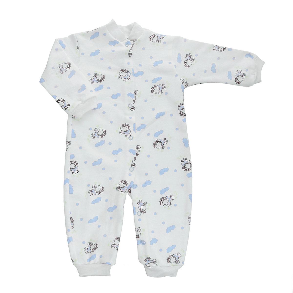 Комбинезон детский. 58215823Удобный детский комбинезон Трон-плюс послужит идеальным дополнением к гардеробу ребенка. Комбинезон изготовлен из натурального хлопка, благодаря чему он необычайно мягкий и легкий, не раздражает нежную кожу ребенка и хорошо вентилируется, а эластичные швы приятны телу малыша и не препятствуют его движениям. Комбинезон с небольшим воротником-стойкой, длинными рукавами и открытыми ножками имеет застежки-кнопки от горловины до щиколоток, которые помогают легко переодеть младенца или сменить подгузник. Низ рукавов и низ брючин дополнен эластичными широкими манжетами. Комбинезон оформлен ярким принтом с изображением забавных животных. С детским комбинезоном Трон-плюс спинка и ножки вашего ребенка всегда будут в тепле, он идеален для использования днем и незаменим ночью. Комбинезон полностью соответствует особенностям жизни младенца в ранний период, не стесняя и не ограничивая его в движениях!