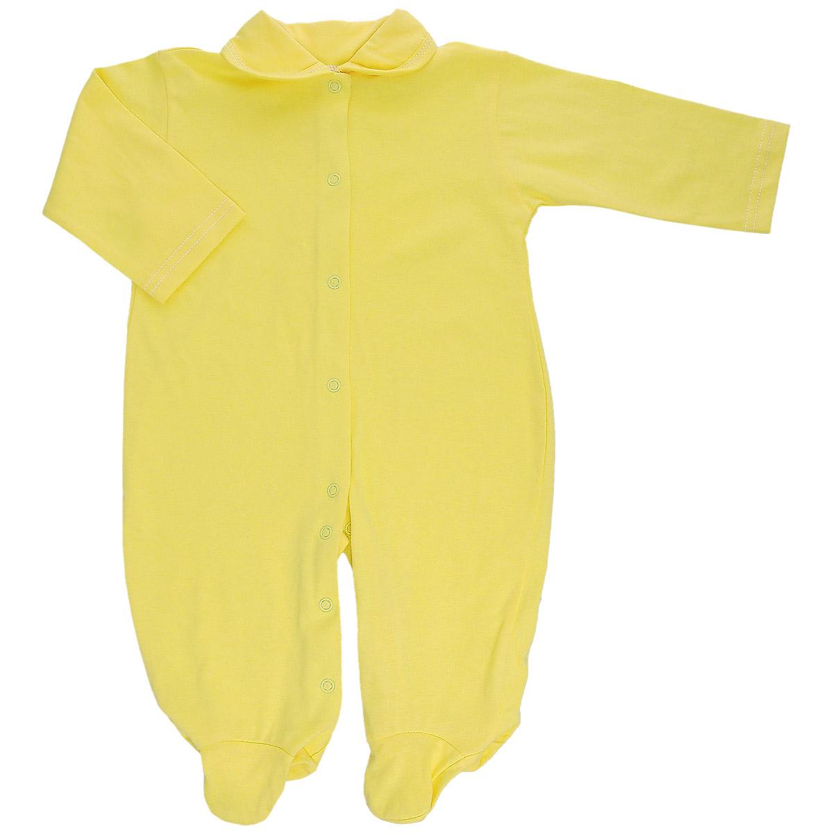 Комбинезон детский. 58055805Детский комбинезон Трон-Плюс - очень удобный и практичный вид одежды для малышей. Комбинезон выполнен из кулирного полотна - натурального хлопка, благодаря чему он необычайно мягкий и приятный на ощупь, не раздражает нежную кожу ребенка, и хорошо вентилируются, а эластичные швы приятны телу малыша и не препятствуют его движениям. Комбинезон с длинными рукавами, закрытыми ножками и отложным воротничком имеет застежки-кнопки от горловины до щиколоток, которые помогают легко переодеть младенца или сменить подгузник. С детским комбинезоном спинка и ножки вашего малыша всегда будут в тепле, он идеален для использования днем и незаменим ночью. Комбинезон полностью соответствует особенностям жизни младенца в ранний период, не стесняя и не ограничивая его в движениях!