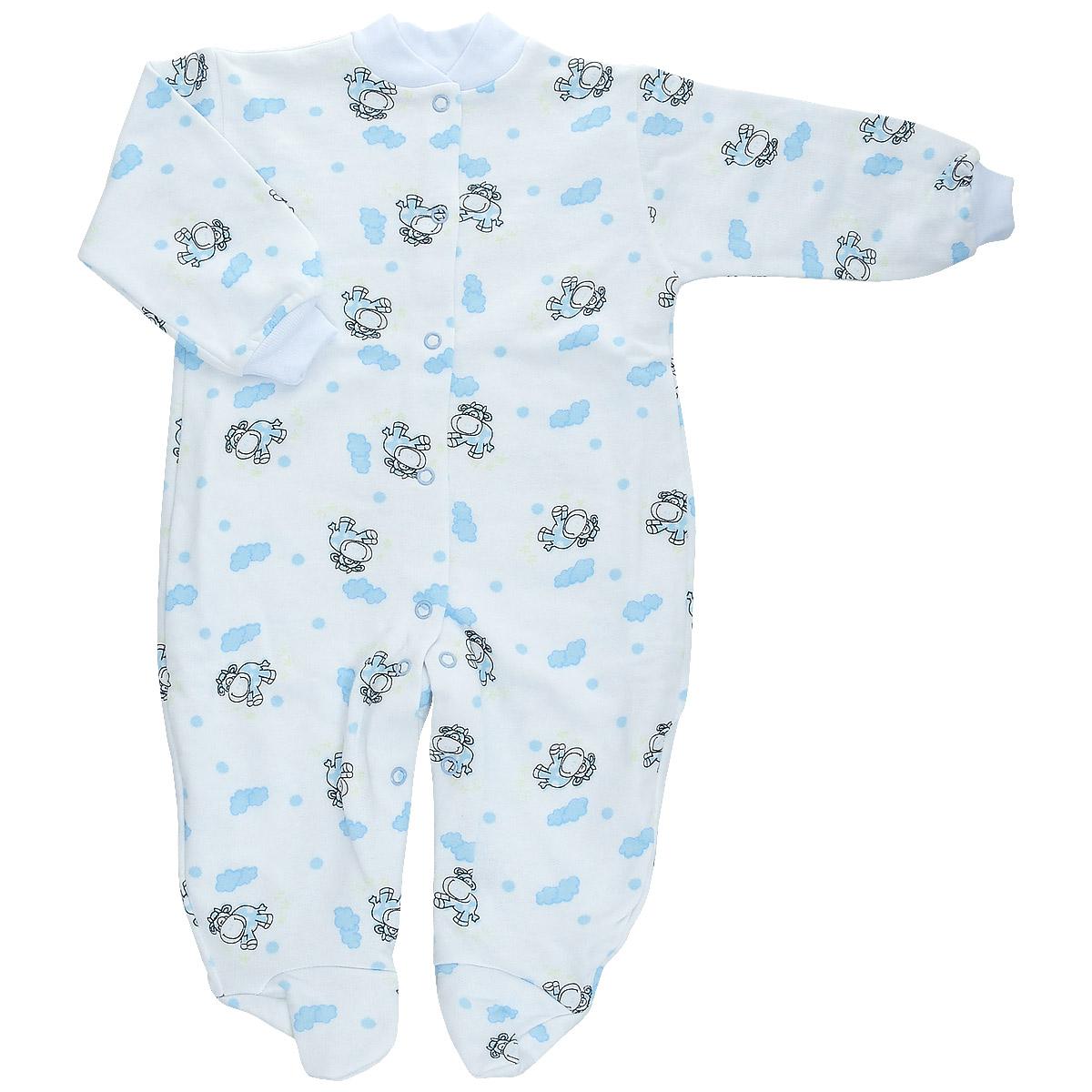 Комбинезон домашний5821Детский комбинезон Трон-Плюс - очень удобный и практичный вид одежды для малышей. Теплый комбинезон выполнен из футерованного полотна - натурального хлопка, благодаря чему он необычайно мягкий и приятный на ощупь, не раздражает нежную кожу ребенка, и хорошо вентилируются, а эластичные швы приятны телу малыша и не препятствуют его движениям. Комбинезон с длинными рукавами и закрытыми ножками имеет застежки-кнопки от горловины до щиколоток, которые помогают легко переодеть младенца или сменить подгузник. Рукава понизу дополнены неширокими трикотажными манжетами, мягко облегающими запястья. Вырез горловины дополнен мягкой трикотажной резинкой. Оформлен комбинезон оригинальным принтом. С детским комбинезоном спинка и ножки вашего малыша всегда будут в тепле, он идеален для использования днем и незаменим ночью. Комбинезон полностью соответствует особенностям жизни младенца в ранний период, не стесняя и не ограничивая его в движениях!