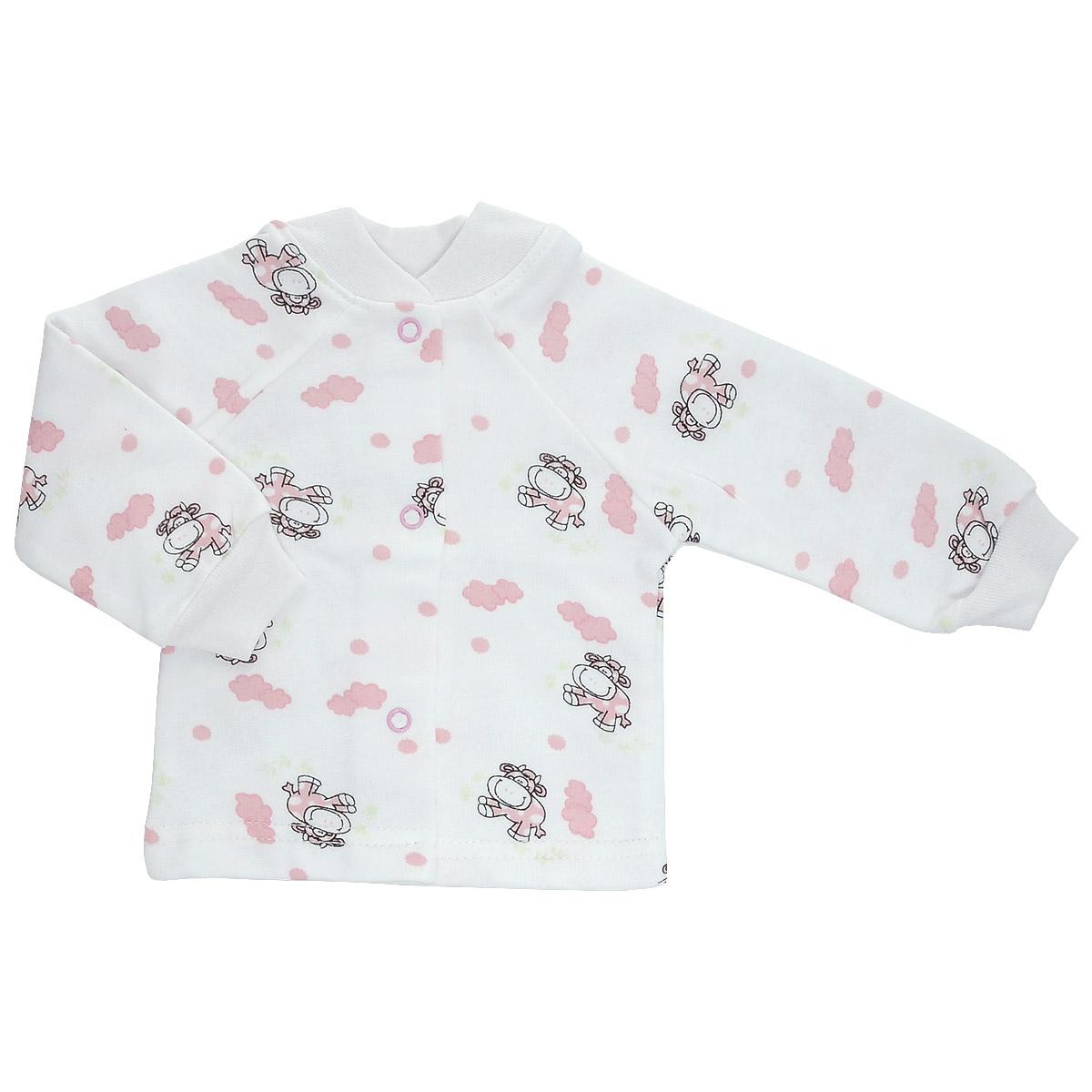 5174Кофточка для новорожденного Трон-плюс с длинными рукавами и небольшим воротничком-стоечкой послужит идеальным дополнением к гардеробу вашего ребенка, обеспечивая ему наибольший комфорт. Изготовленная из футера - натурального хлопка, она необычайно мягкая и легкая и теплая, не раздражает нежную кожу ребенка и хорошо вентилируется, а эластичные швы приятны телу малыша и не препятствуют его движениям. Удобные застежки-кнопки по всей длине помогают легко переодеть младенца. Рукава-реглан понизу дополнены трикотажными манжетами, не пережимающими ручку. Воротничок дополнен эластичной трикотажной резинкой. Кофточка полностью соответствует особенностям жизни ребенка в ранний период, не стесняя и не ограничивая его в движениях.