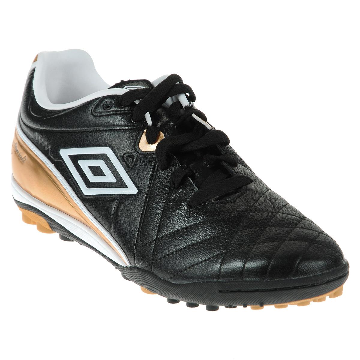 Шиповки футбольные UMBRO Specili 4 Premio, цвет: черный, белый, бронзовый. 80777. Размер 41,5